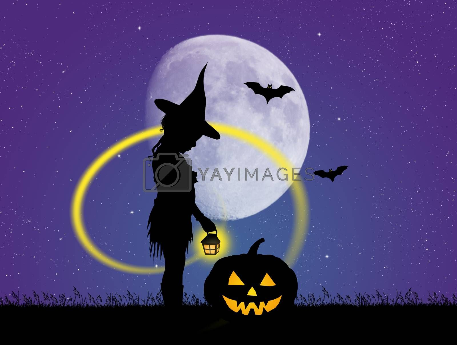 illustration of girl in the Halloween night