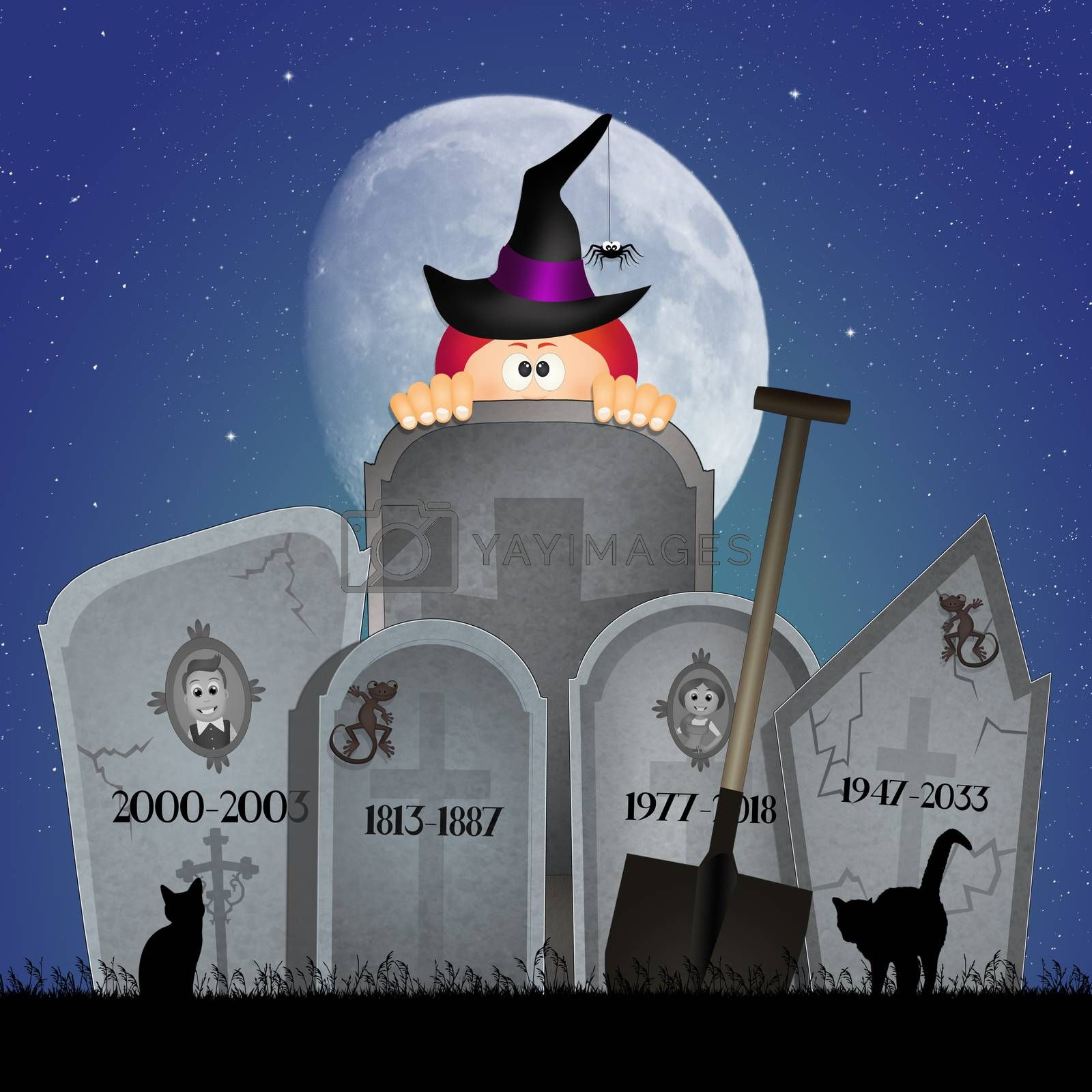 illustration of tombstones for Halloween