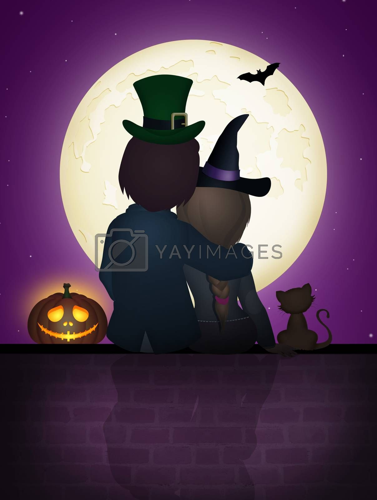 illustration of couple sitting on the wall in the Halloween night