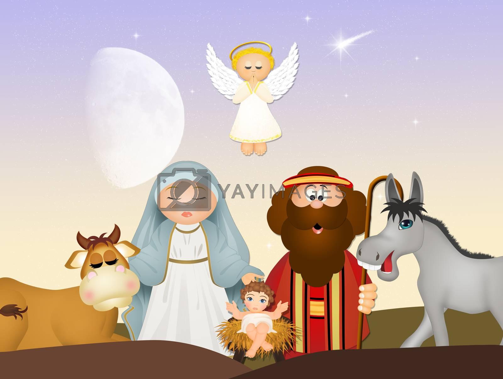 illustration of Christmas Nativity scene with angel