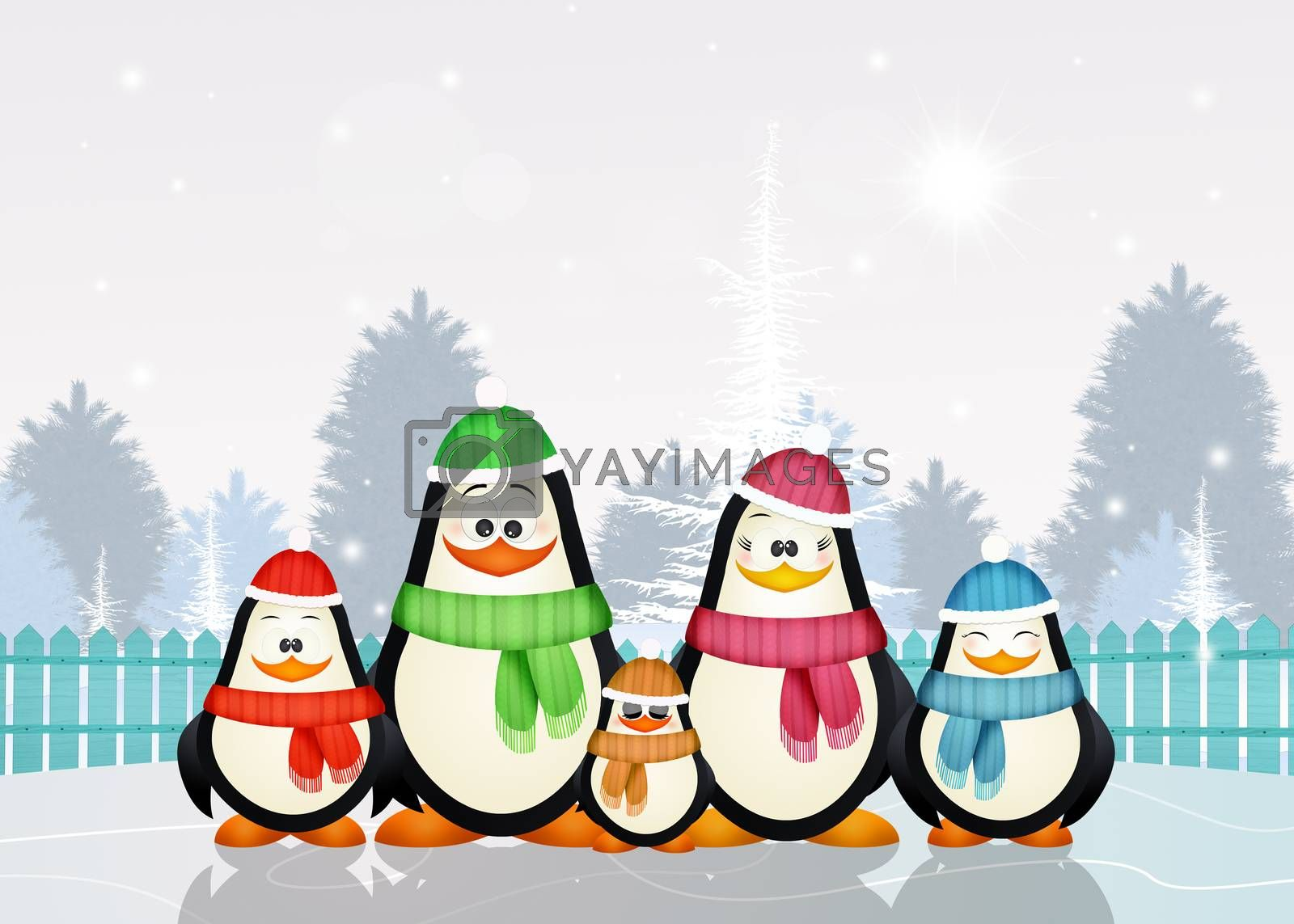 illustration of funny penguins at Christmas