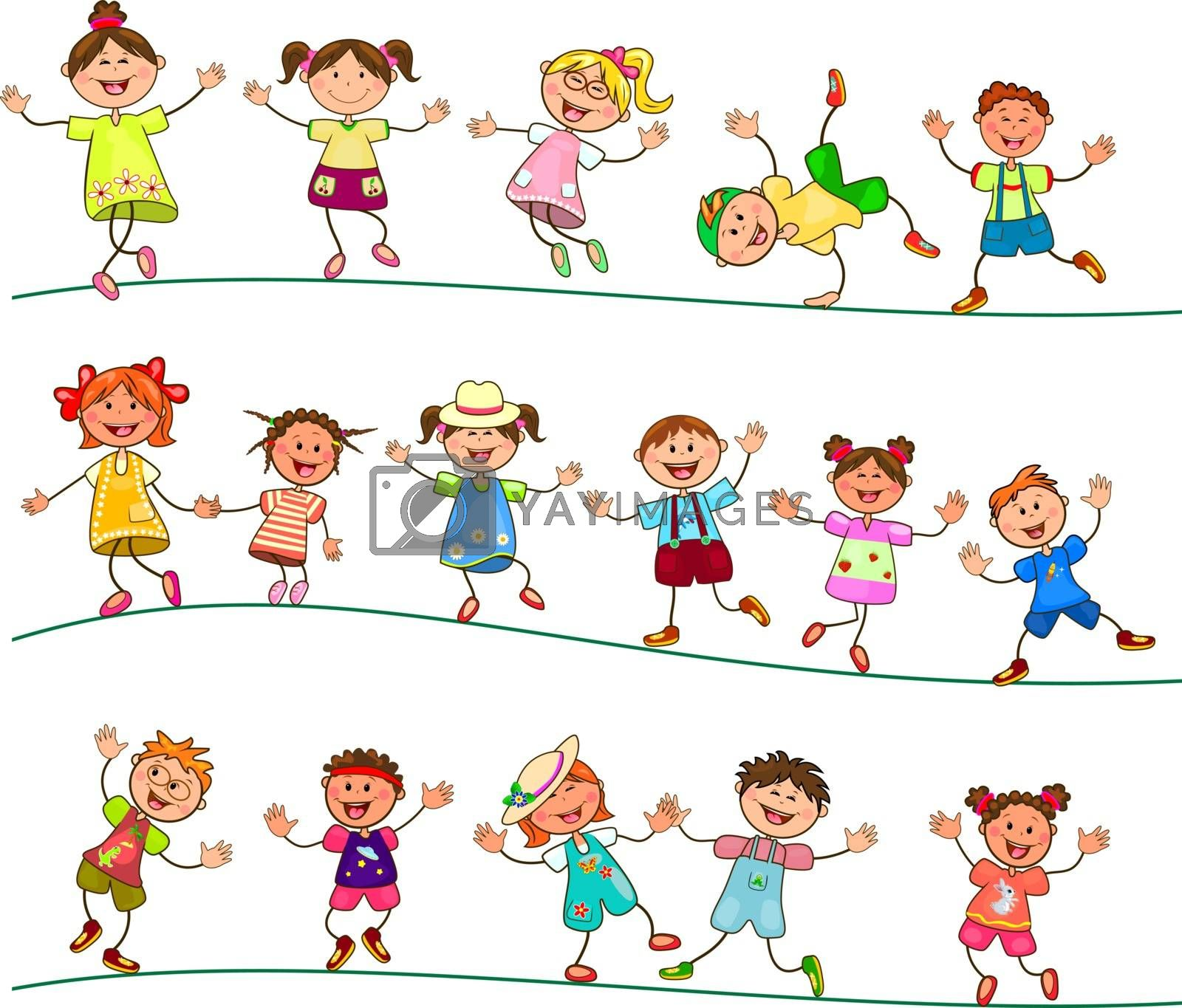 Group of cheerful, smiling children on a white background. Cartoon joyful children. Group of happy, smiling children.