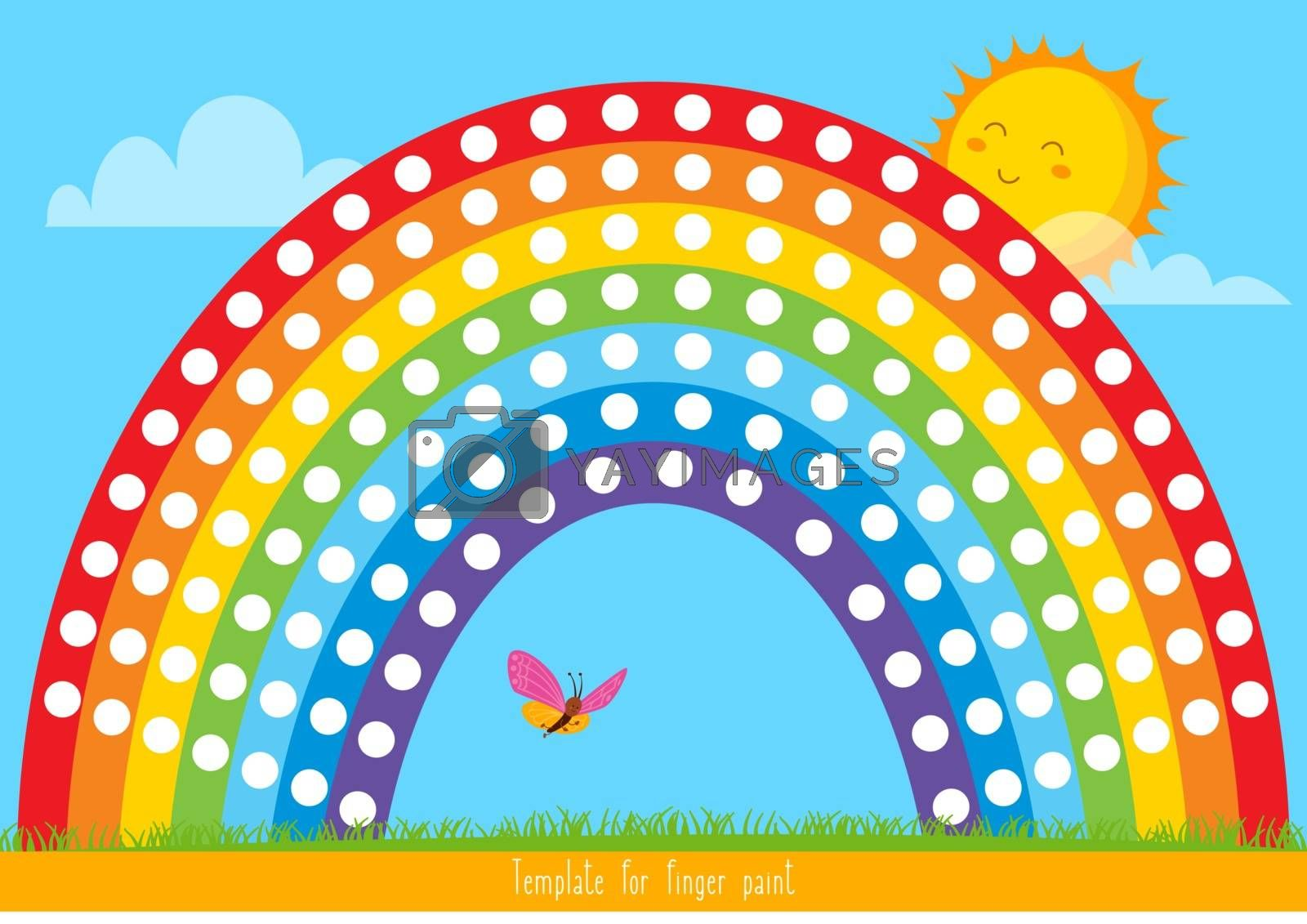 Template for finger paint. Printable for children's creativity. Vector illustration