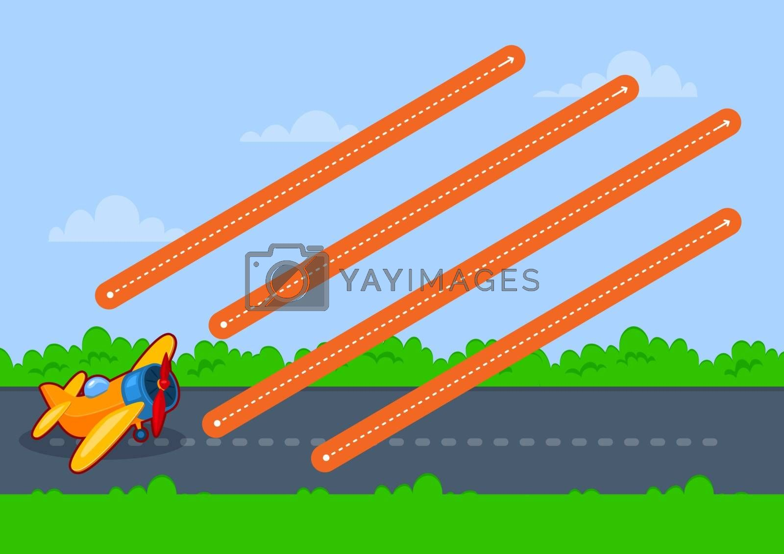 Educational printable games for the development of fine motor skills in kids. Baby's finger allow along the tracks. Vector illustration