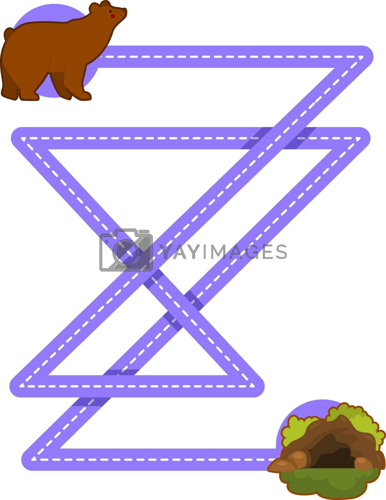 Educational printable games for the development of fine motor skills in kids. Baby's finger allow along the tracks. Vector illustration