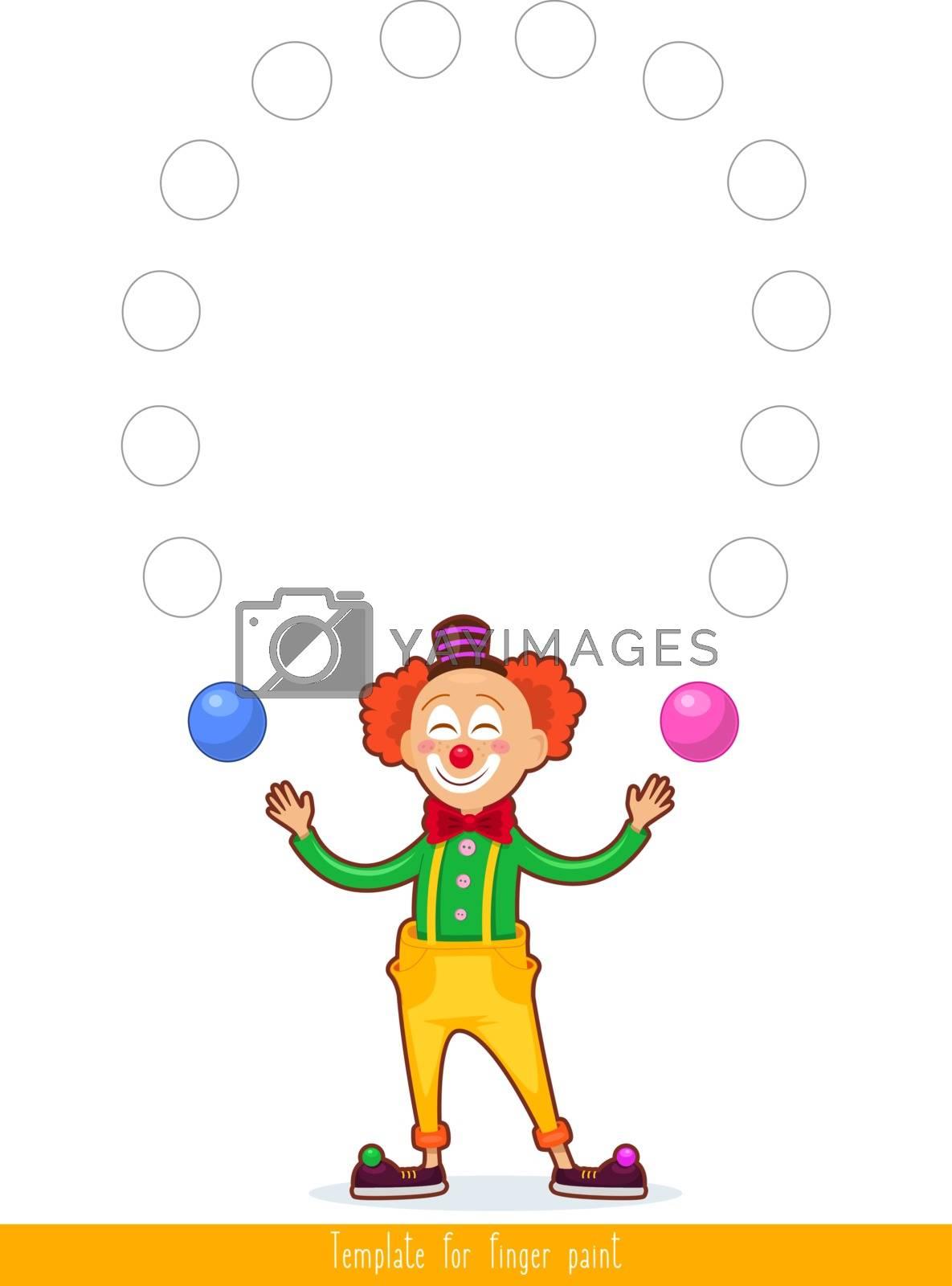 Template for finger paint. Printable for children's creativity. Vector illustration