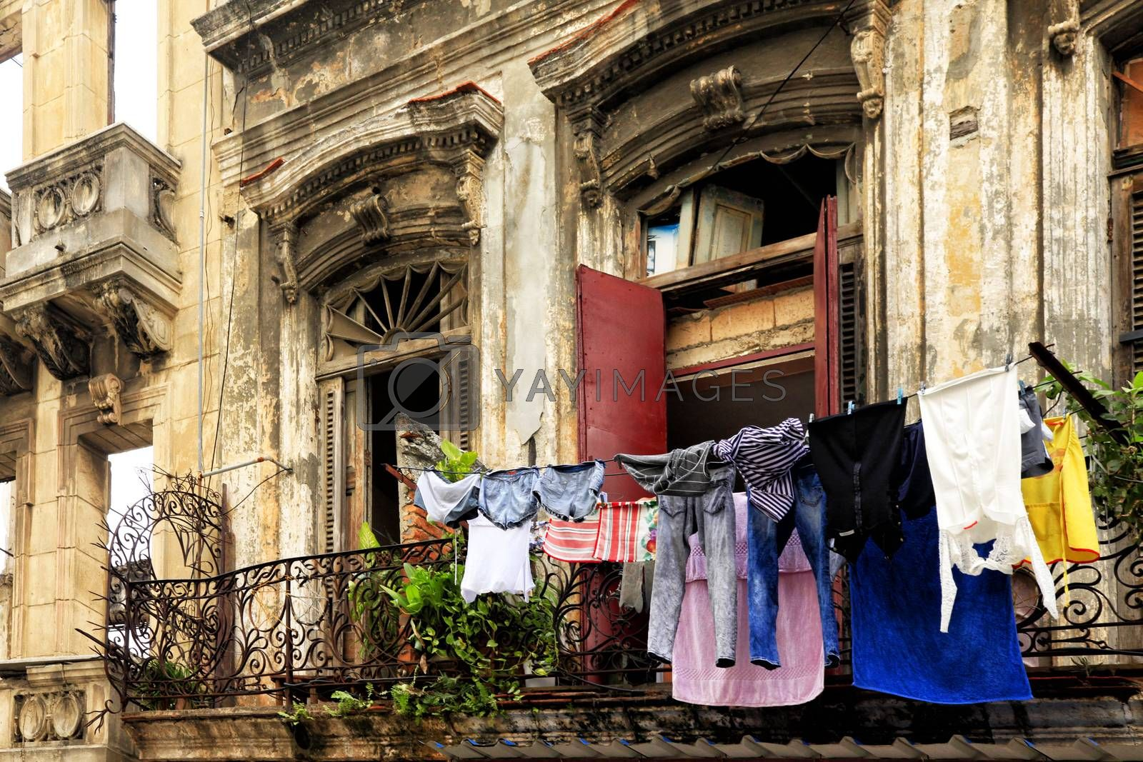 Royalty free image of Hanging laundry to dry on balcony in Havana, Cuba by friday