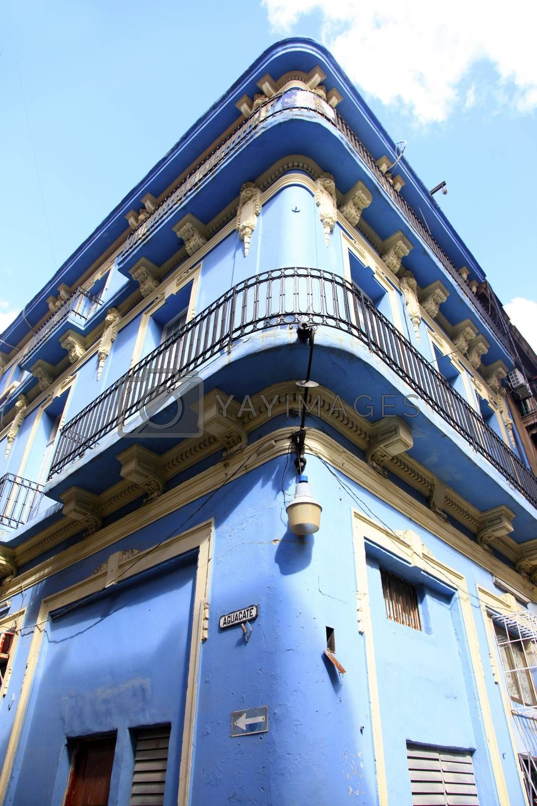 The exterior of an old spanish-influence building. Aguacate street in old Havana, Cuba