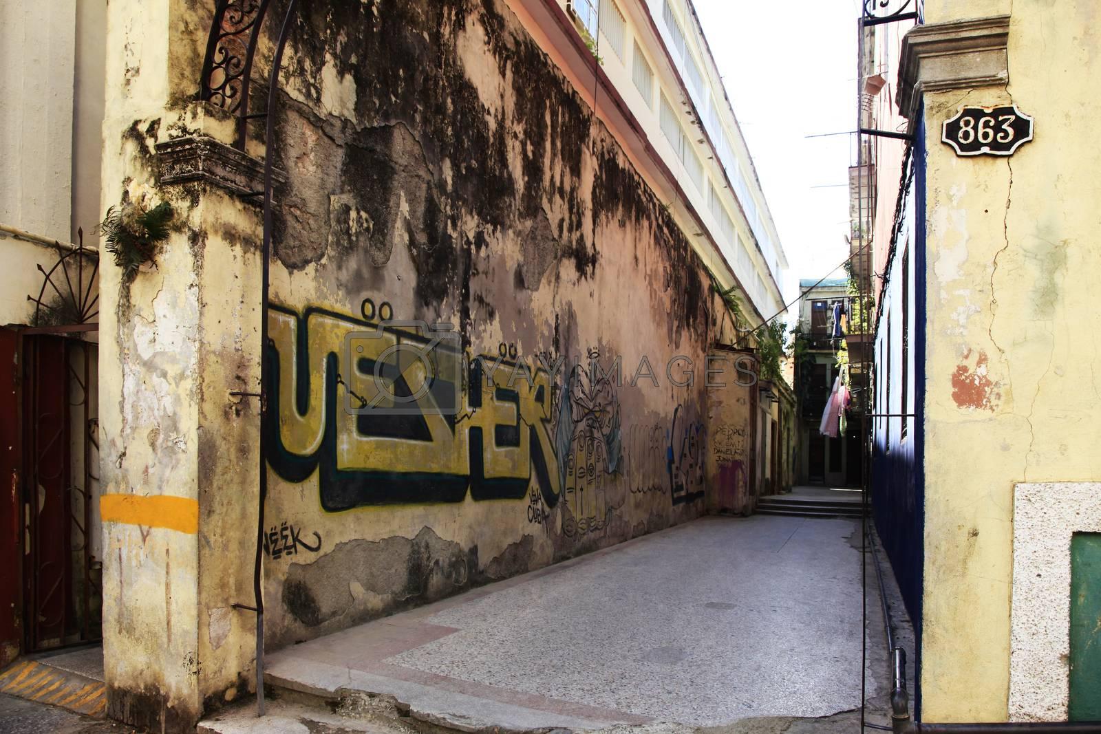Graffiti on the wall of a building on street San Martin in Havana, Cuba