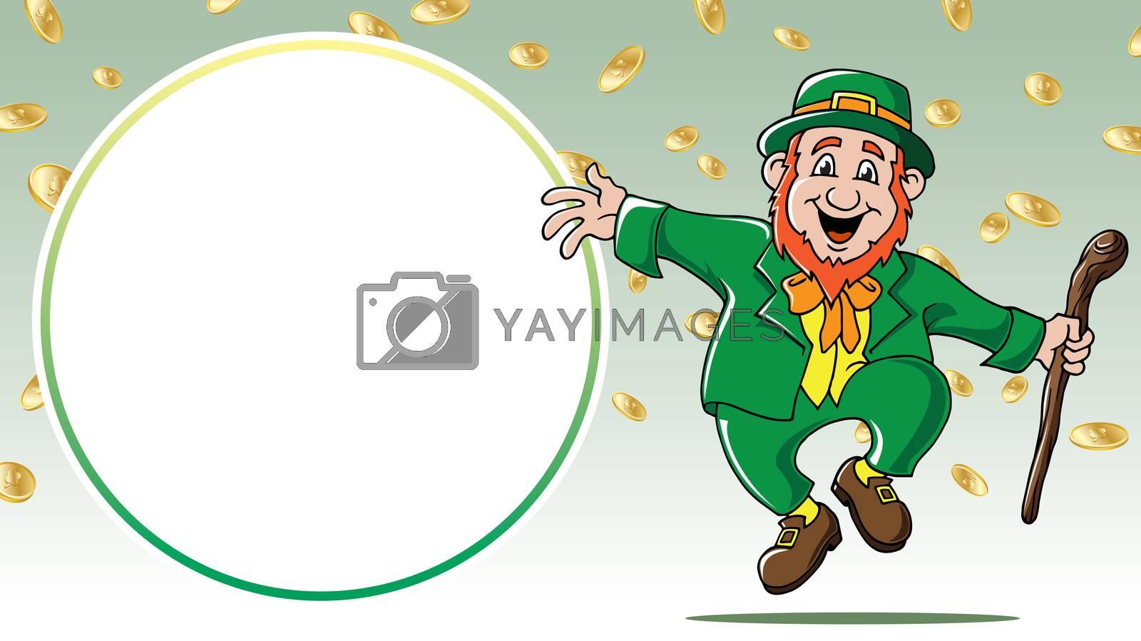 Saint Patrick's Day leprechaun dancing among gold coins retail sale