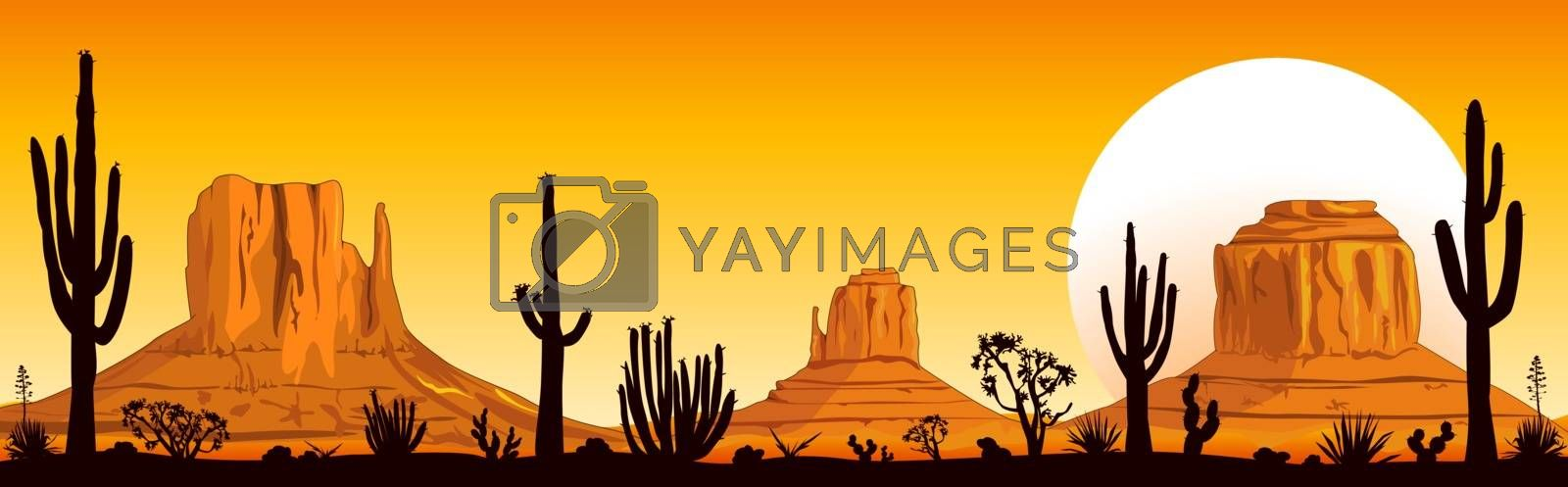 Landscape rocky desert. Mountains and cacti. Sunny sunset in the desert. Monument Valley in Arizona and Utah.