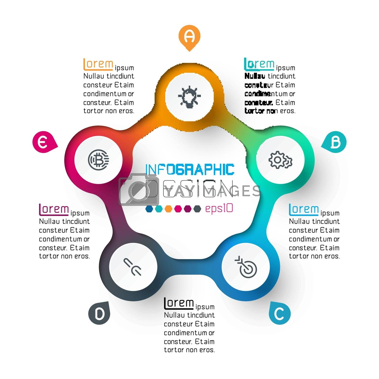 Five circles with business icon infographics.