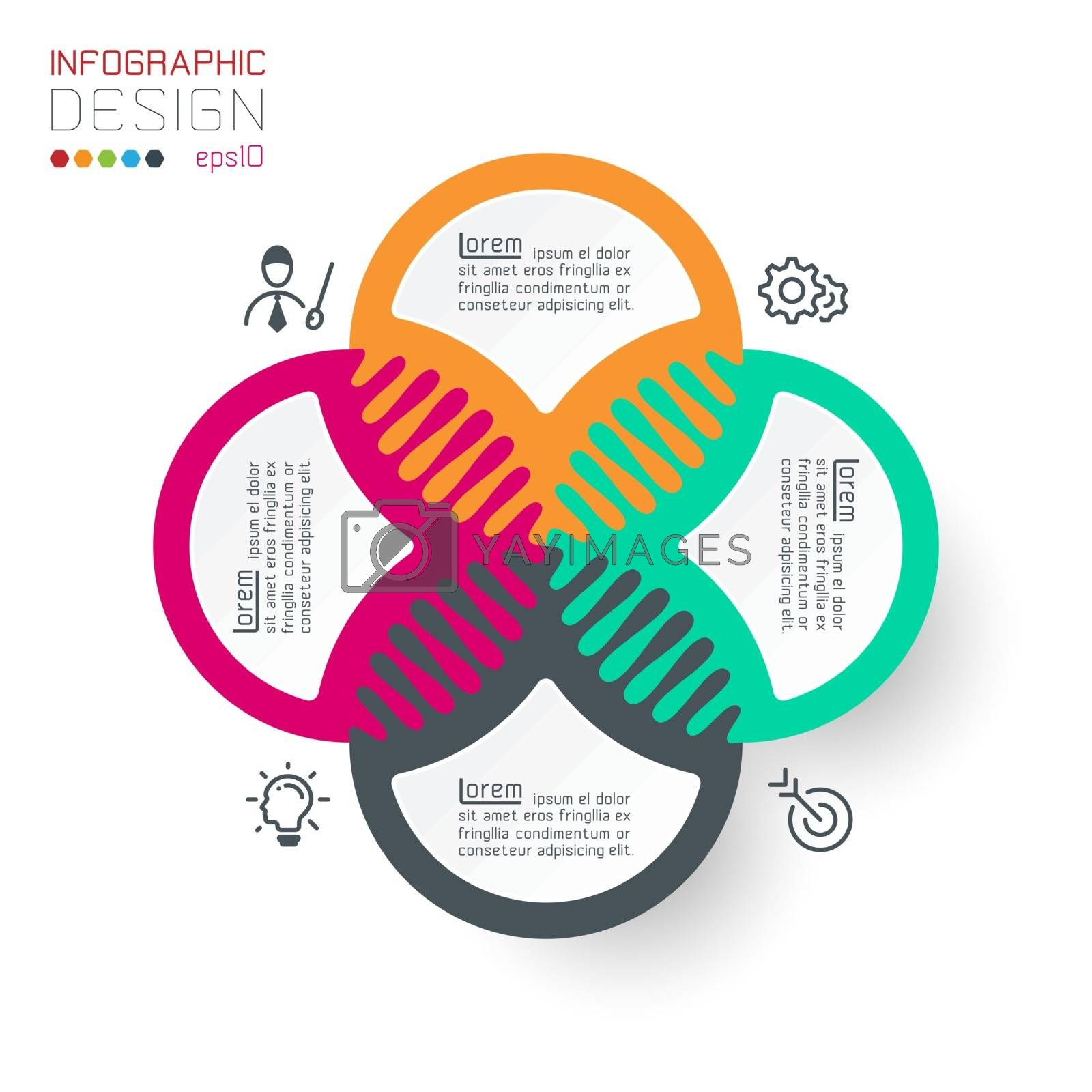 Four harmonious circle infographics.