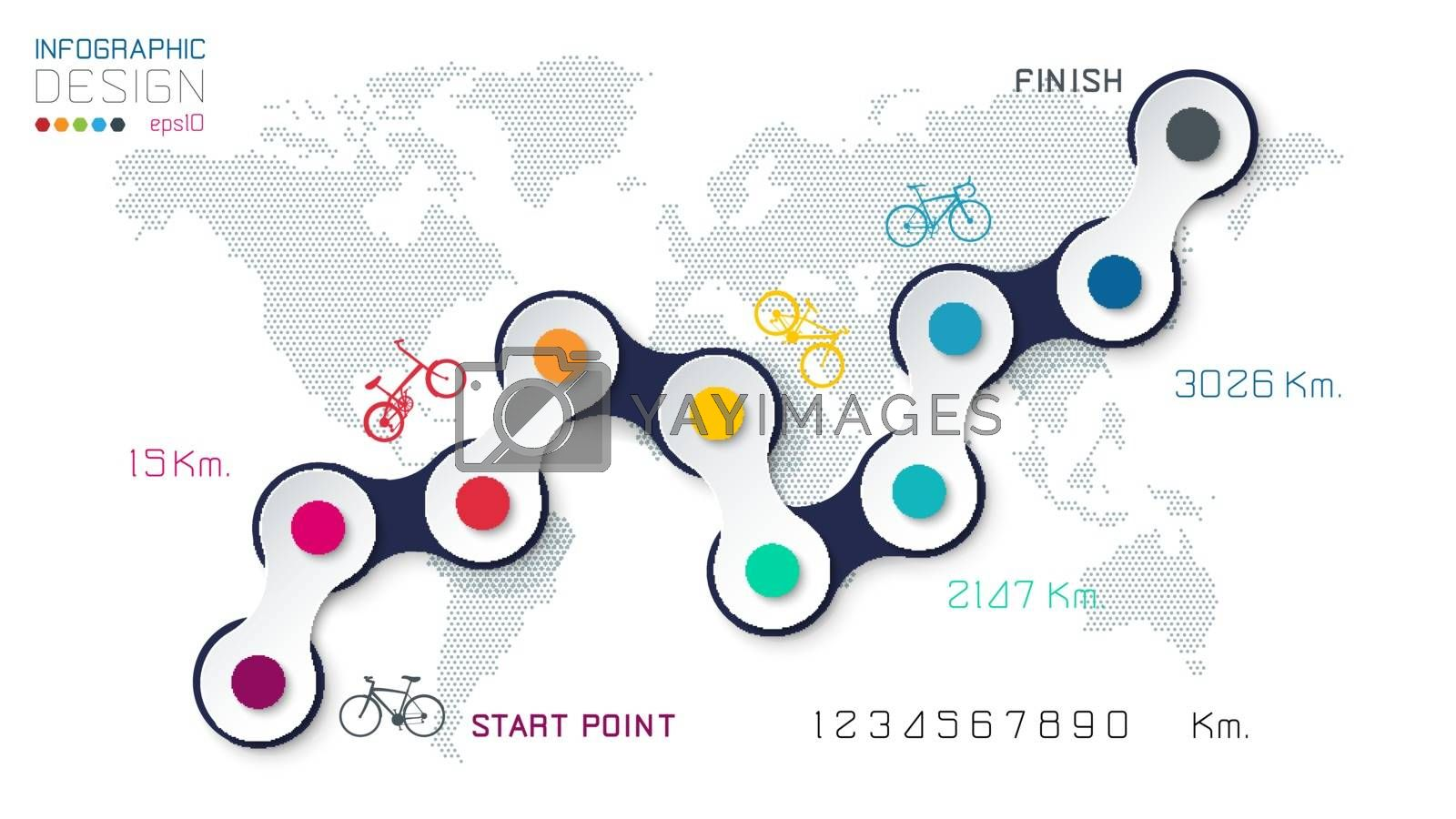 Bicycle way with business icon infographics on world map background. by narinbg