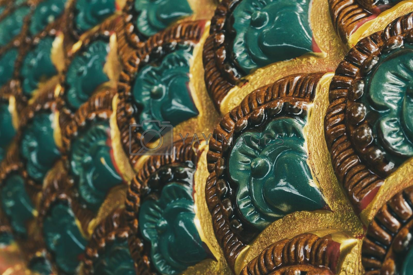 Sculpture pattern of the serpent in Thailand temple. Concept of Thai and Lao cultural beliefs and philanthropy.