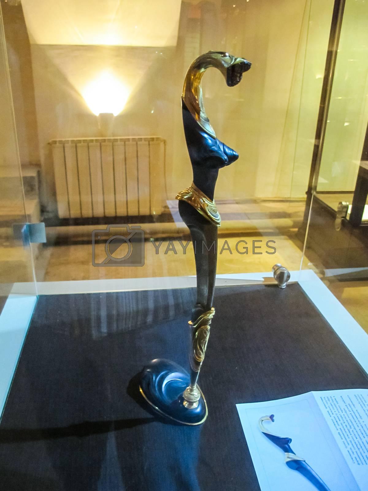 St Petersburg, Russia - June 14, 2018: Museum of Blade Weapons. Exhibits of swords, swords and daggers. Swords, machetes and other cold steel.