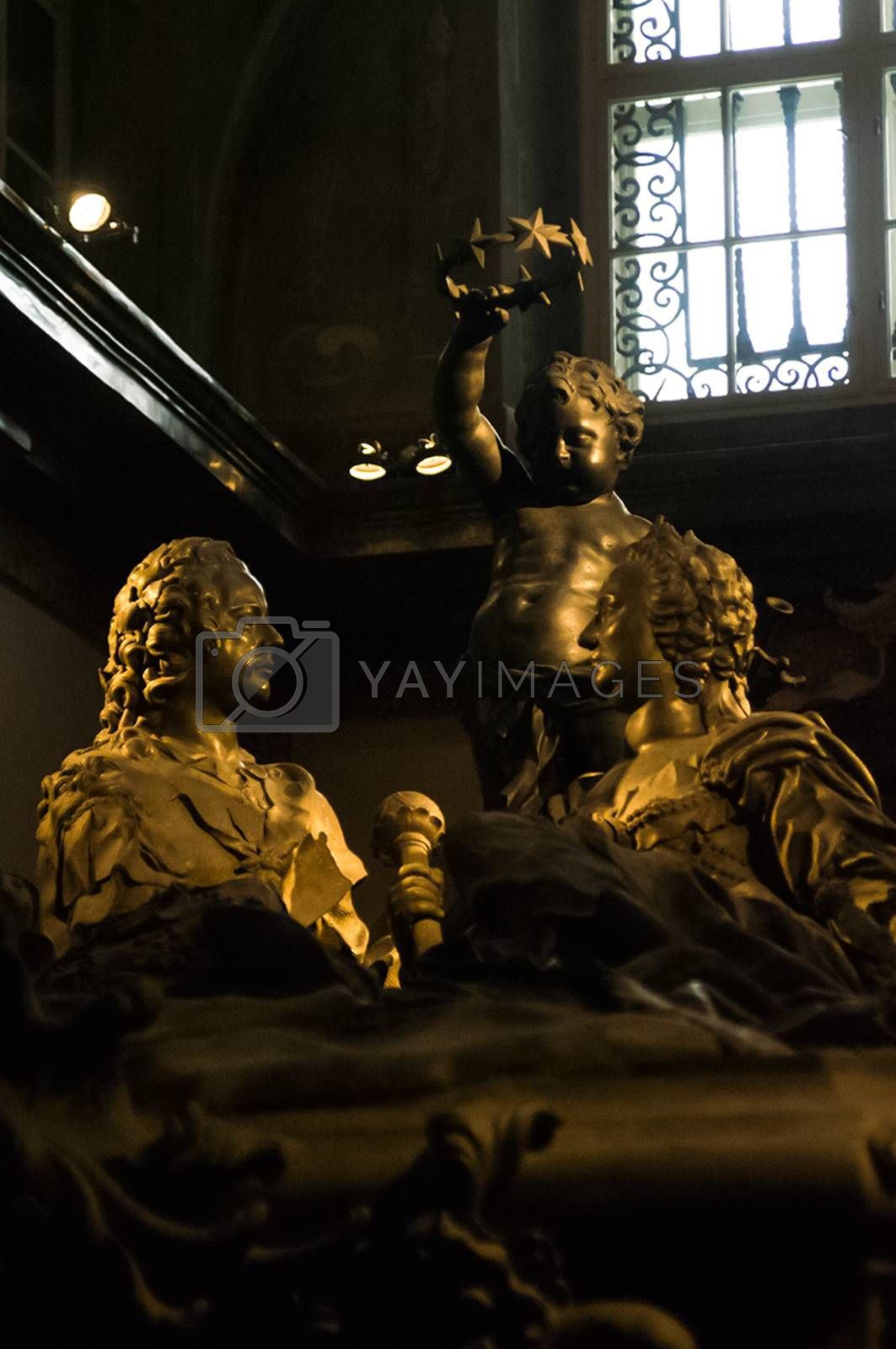 Vienna, Austria - January 20, 2014: The sights of Vienna, the interiors of the building of cathedrals and temples. Antique buildings of temples and cathedrals in the Gothic and Byzantine style.