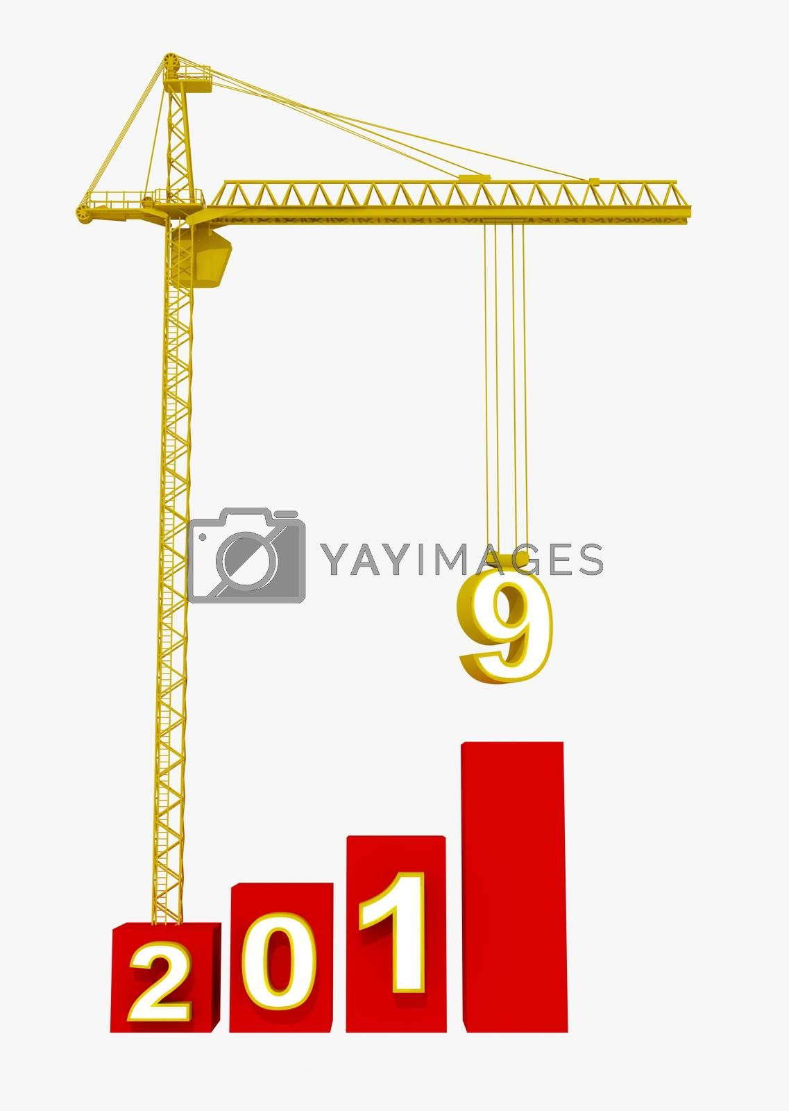 Build the Future Concept. Tower Crane with 2019 Year Sign on a white background. 3d Rendering. by hakan kacar