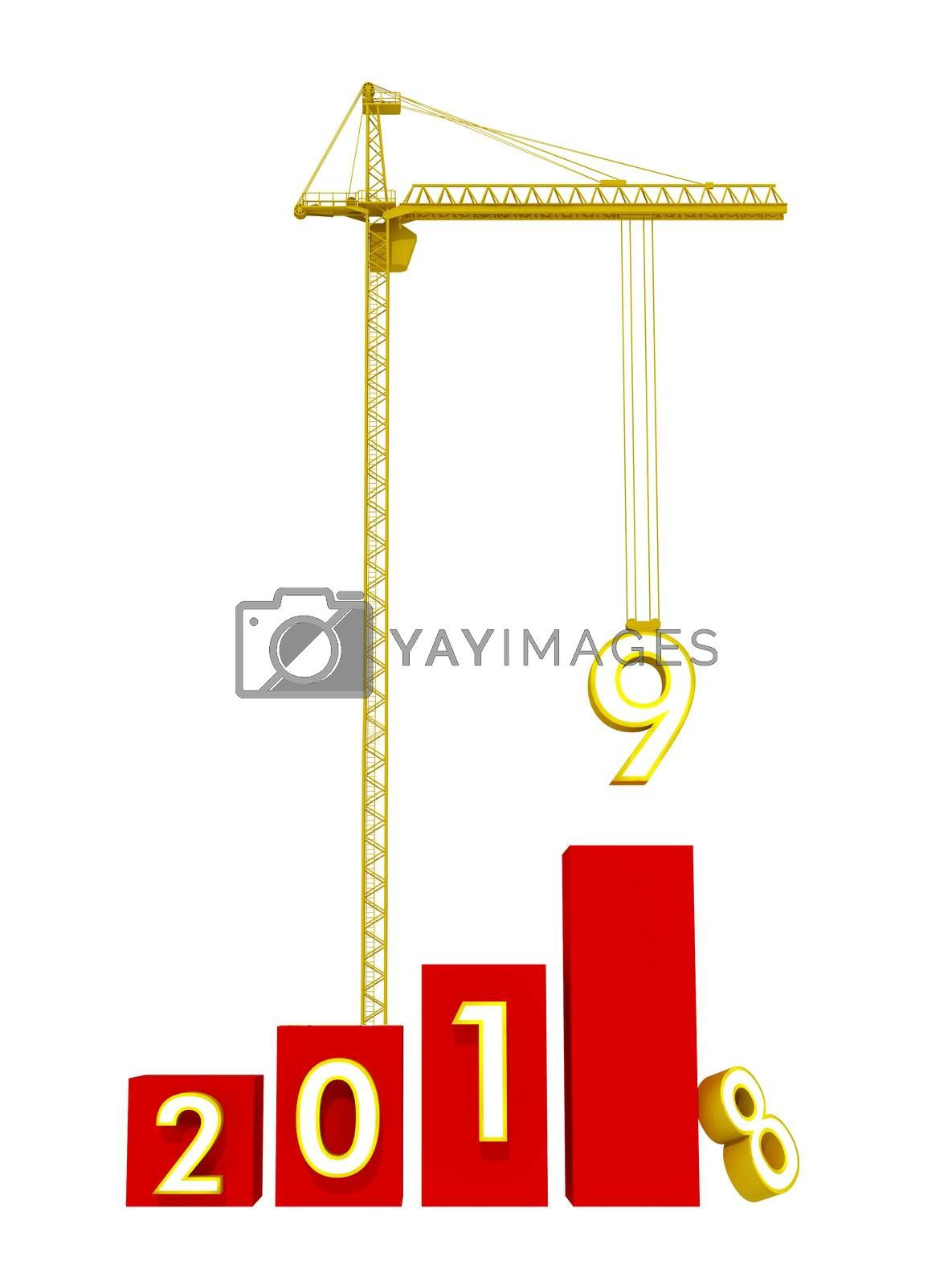 Build the Future Concept. Tower Crane with 2019 Year Sign on a white background. 3d Rendering.