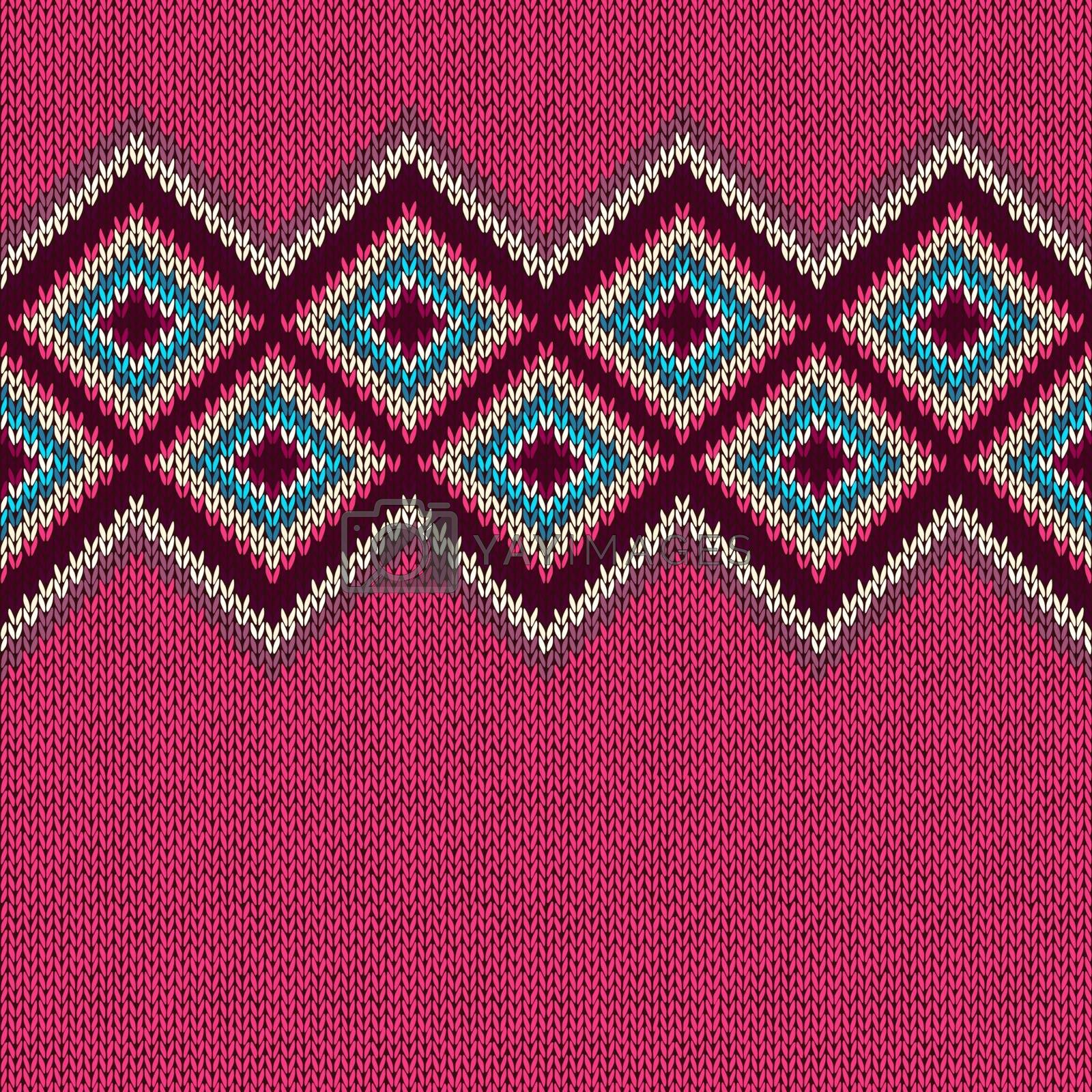 Seamless knitted pattern with rhombus. Decorative ornament. Geometric background with textile texture