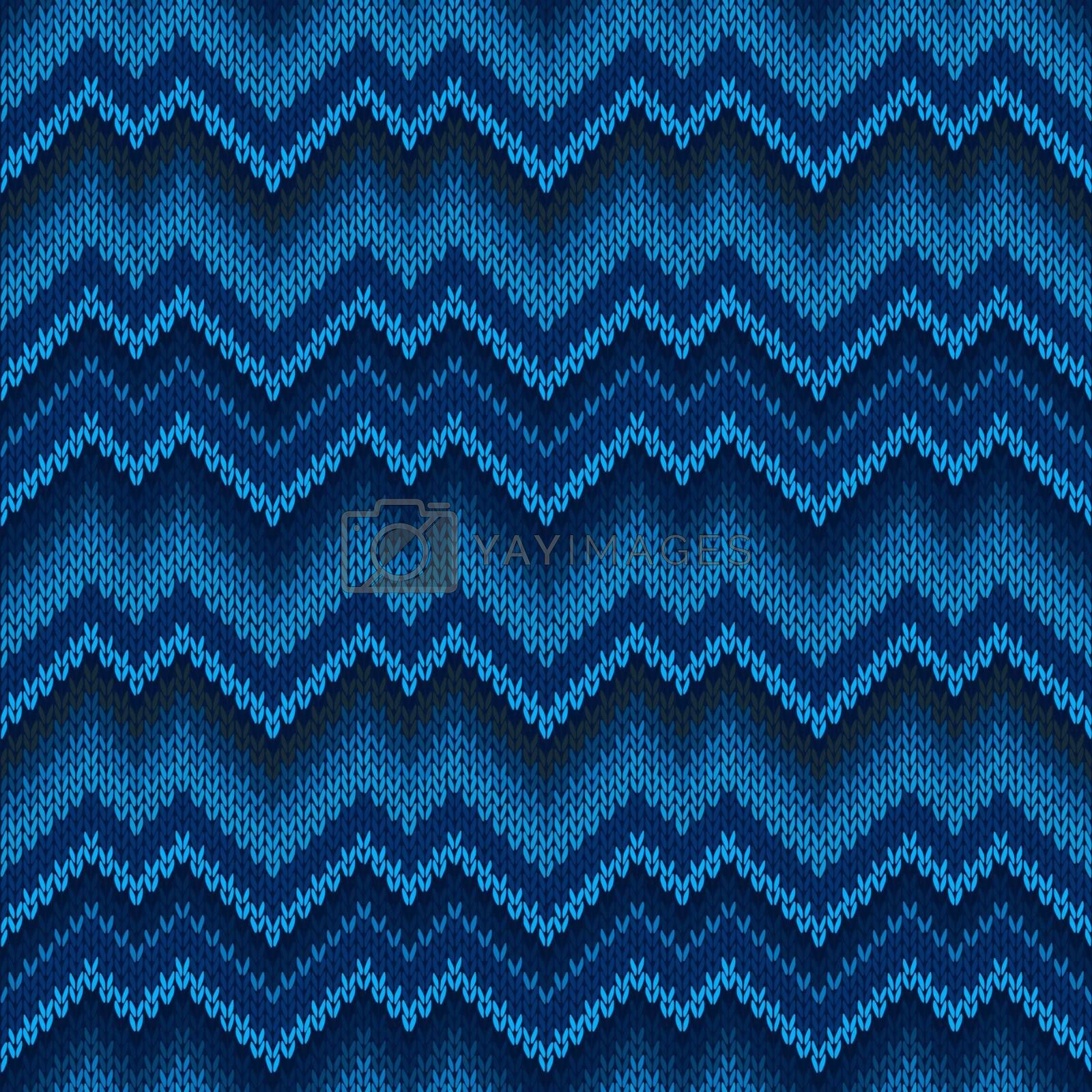 Seamless knitted pattern in blue. Zigzag embroidery