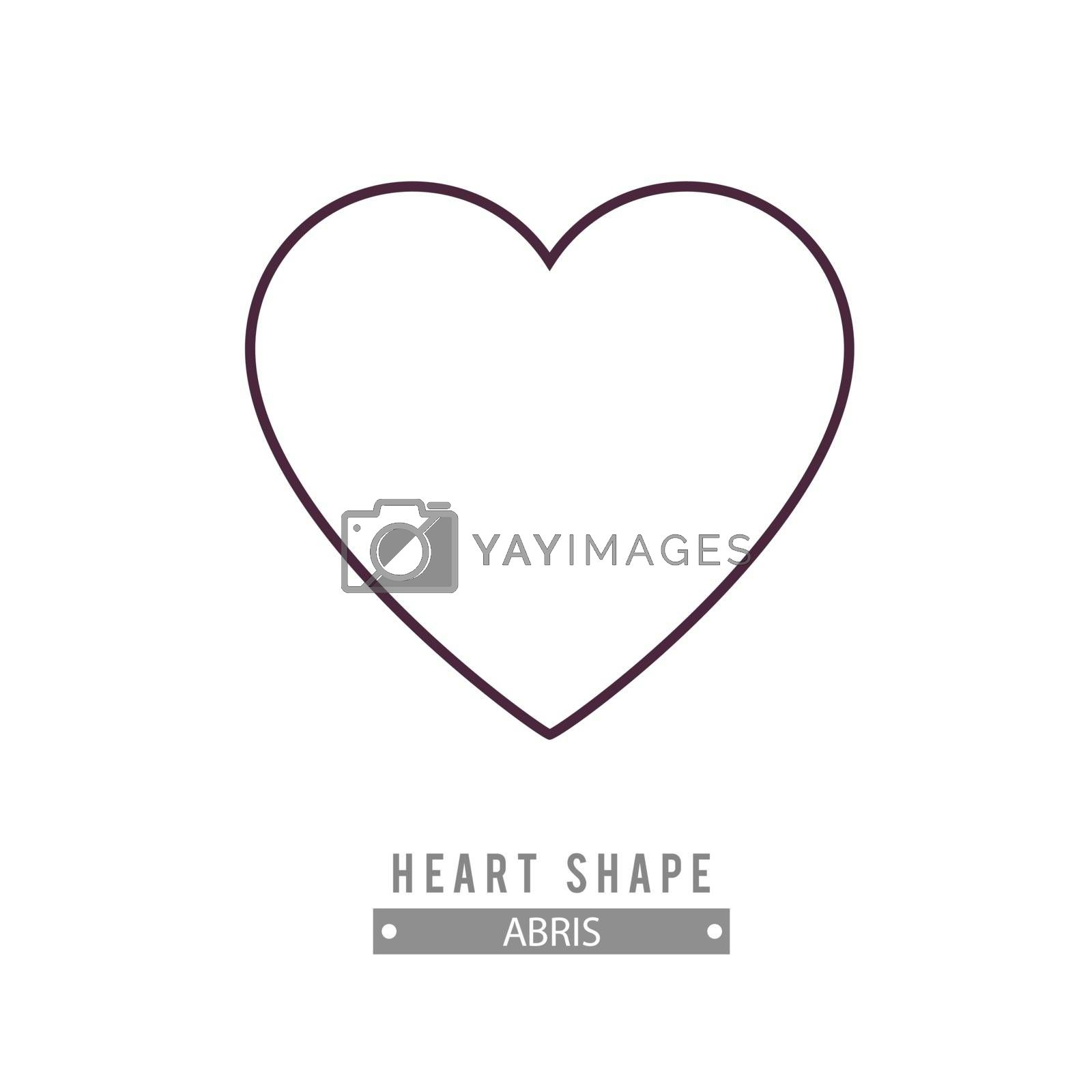 Outline heart icon. Love symbol design element. Vector illustration black and white.