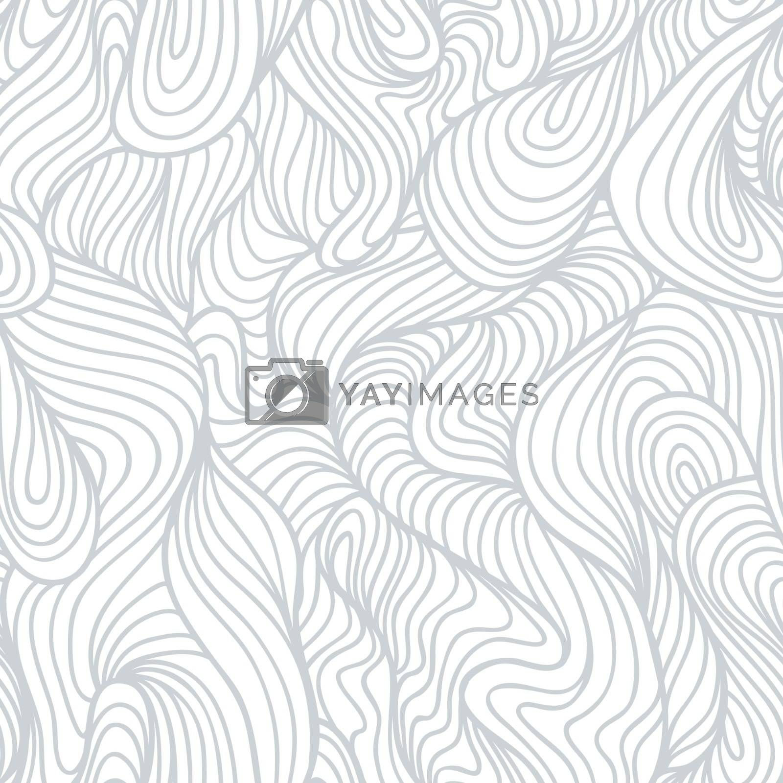 Royalty free image of Seamless abstract light hand drawn pattern, waves background by ESSL