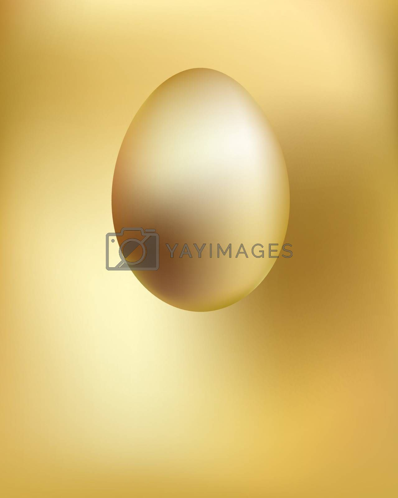 Golden egg soars hanging in space. Antigravity effect. Easter symbol. Spring traditional holidays.