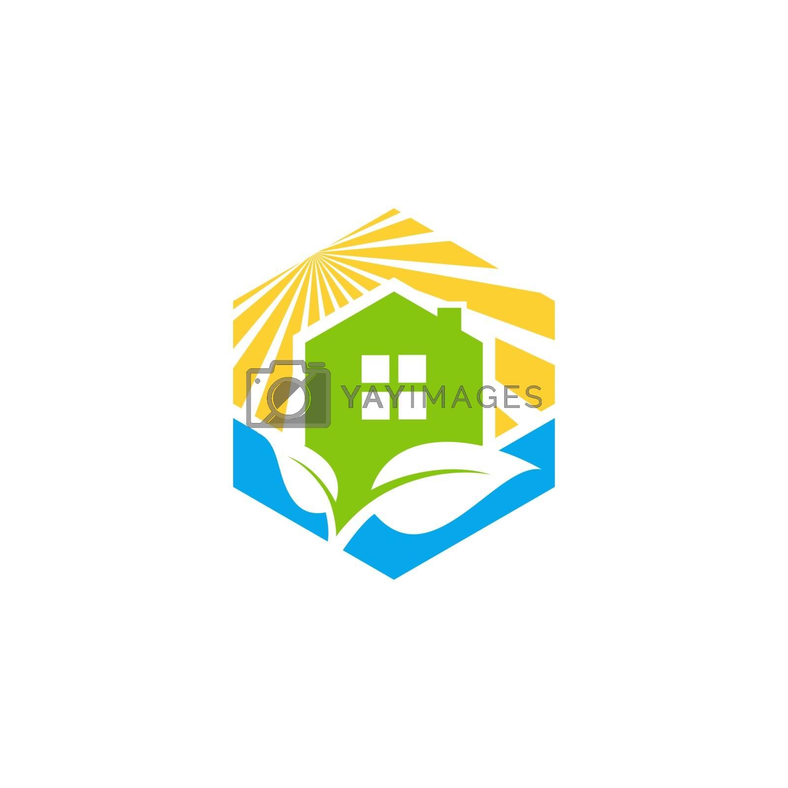 cube construction home house real estate logo symbol icon vector design