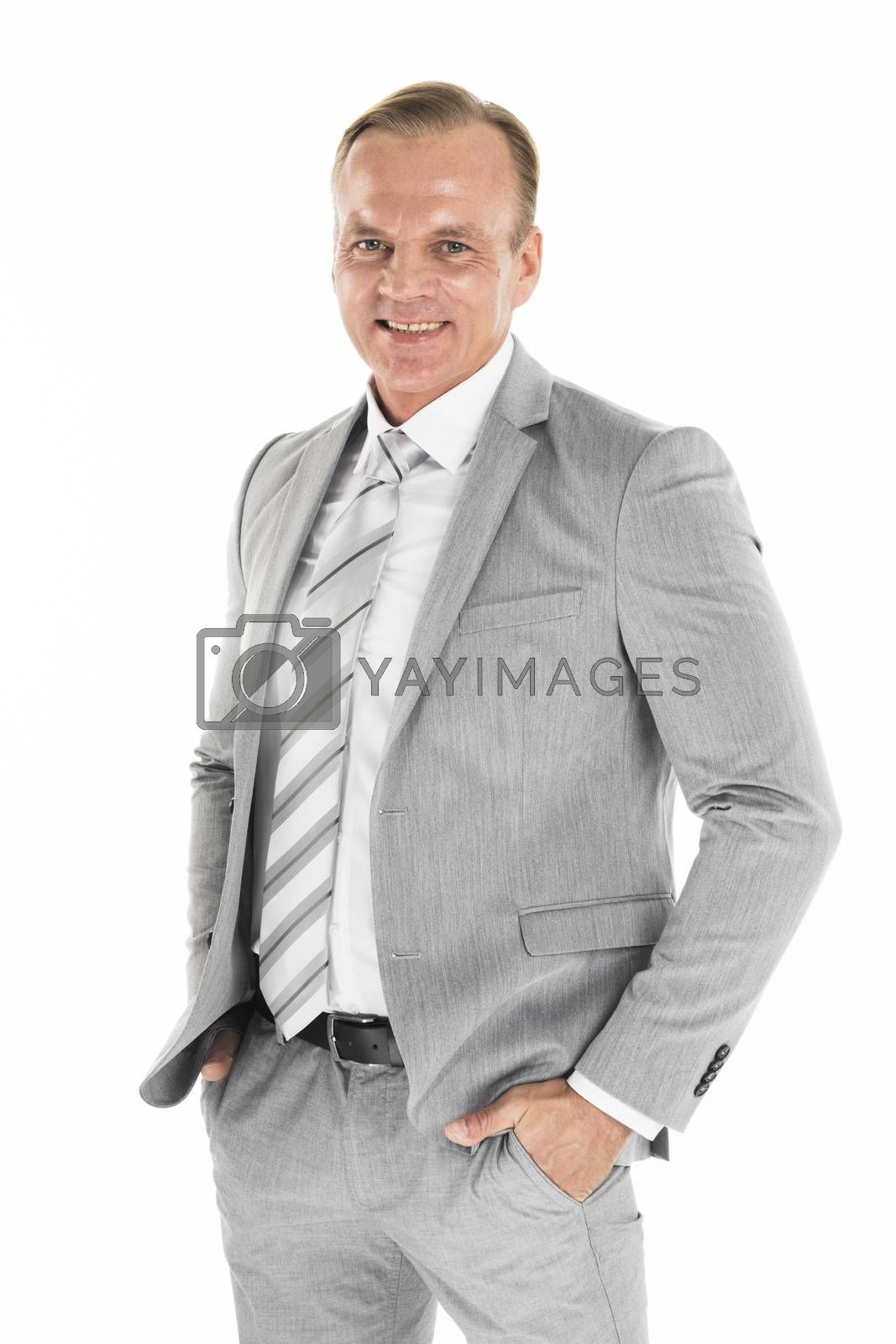Happy satisfied mature businessman looking at camera isolated on white background