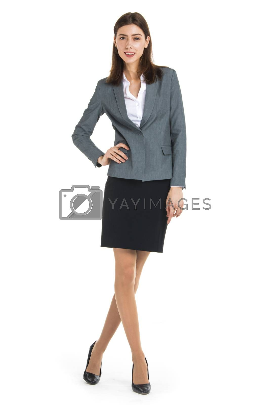 Businesswoman portrait full length studio isolated on white background