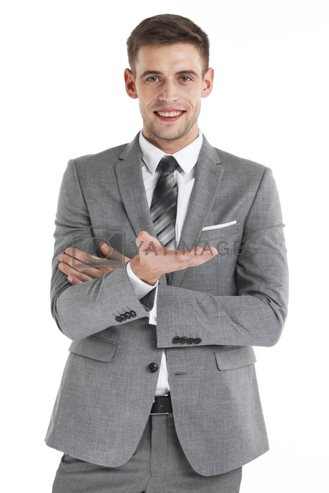 Young business man use hand to hold something isolated on white background