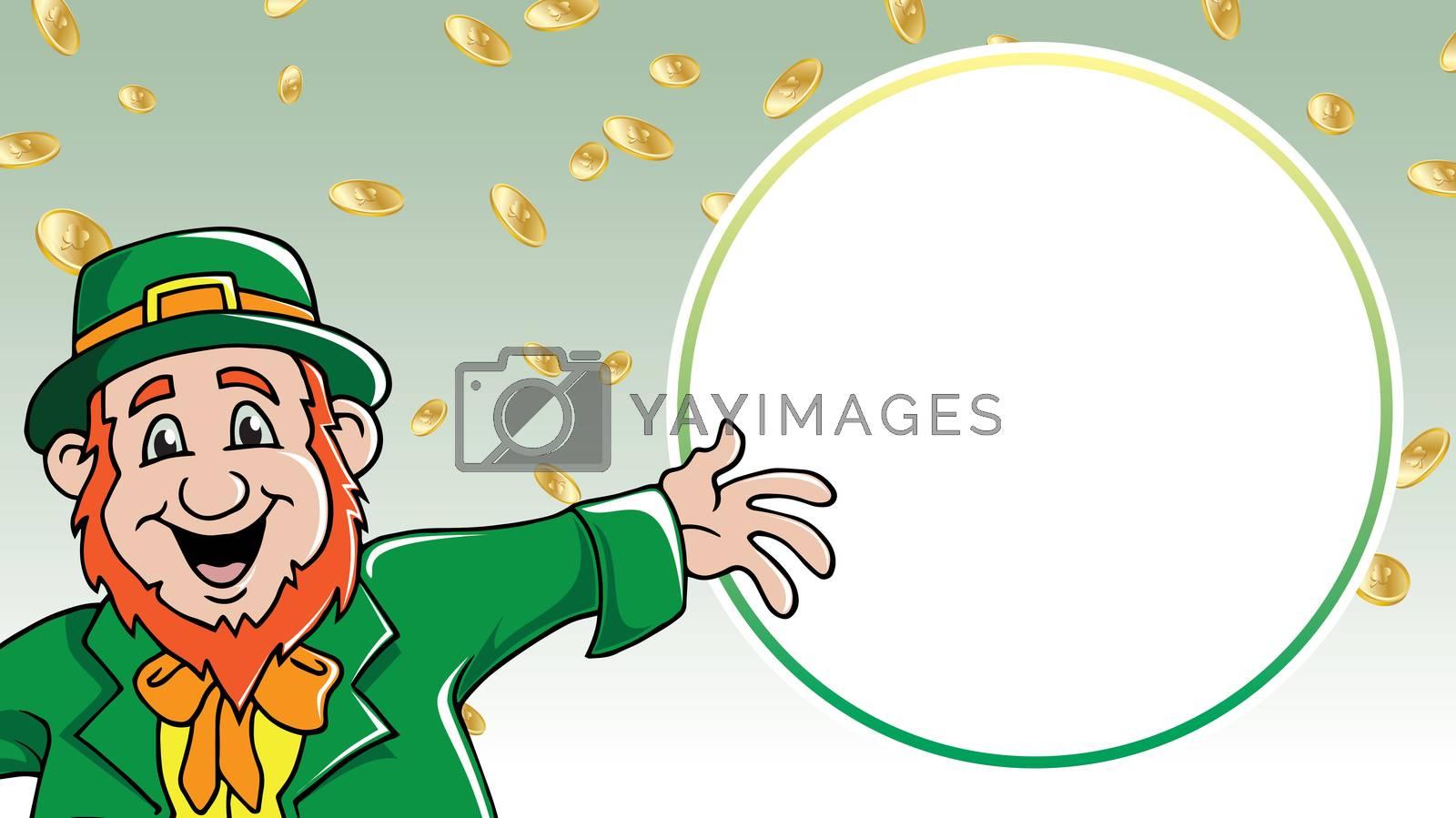 Saint Patrick's Day leprechaun shouting message among gold coins retail sale
