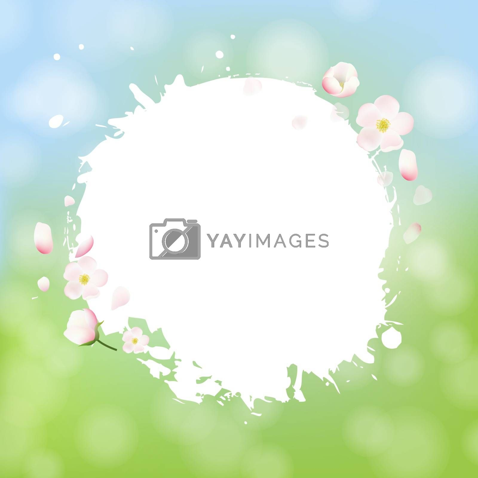 White Stain With Flowers Sale Banner Bokeh Background by cammep
