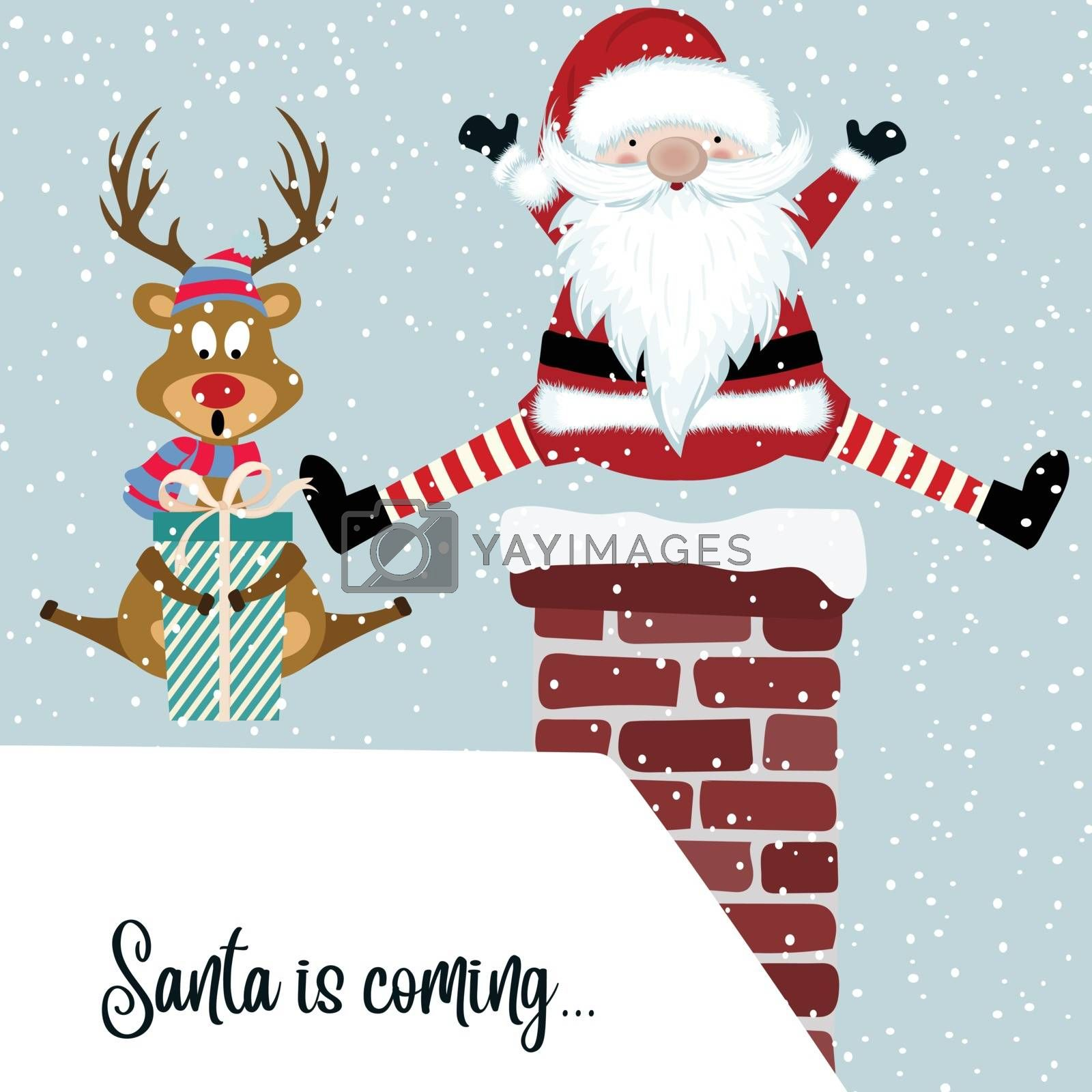 Funny Christmas card with Santa and reindeer. Flat design.