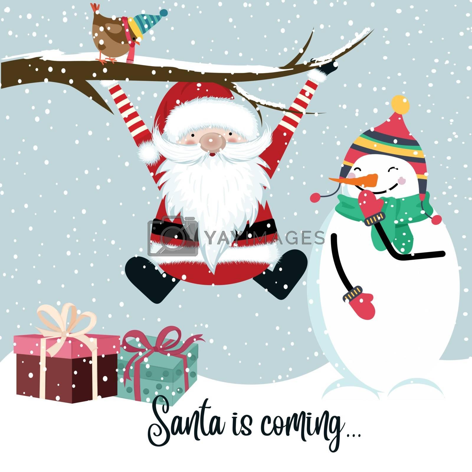 Santa is coming, funny Christmas illustration