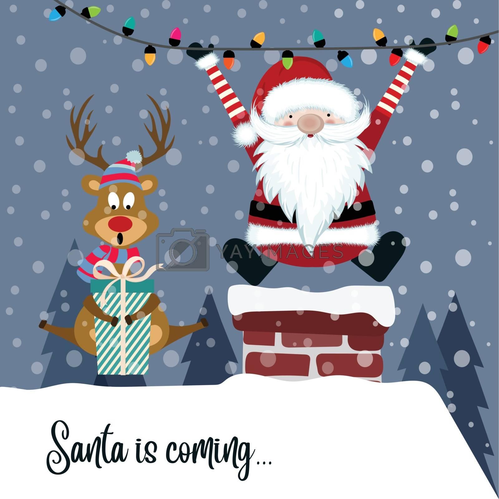 Christmas card with Santa and reindeer. Flat design.