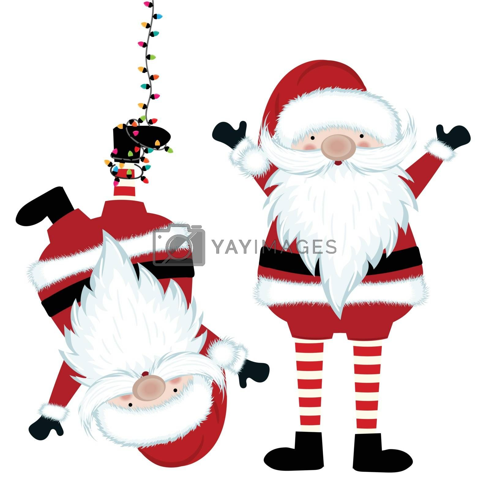 Funny Santa collection isolated on white background. Flat design. Vector