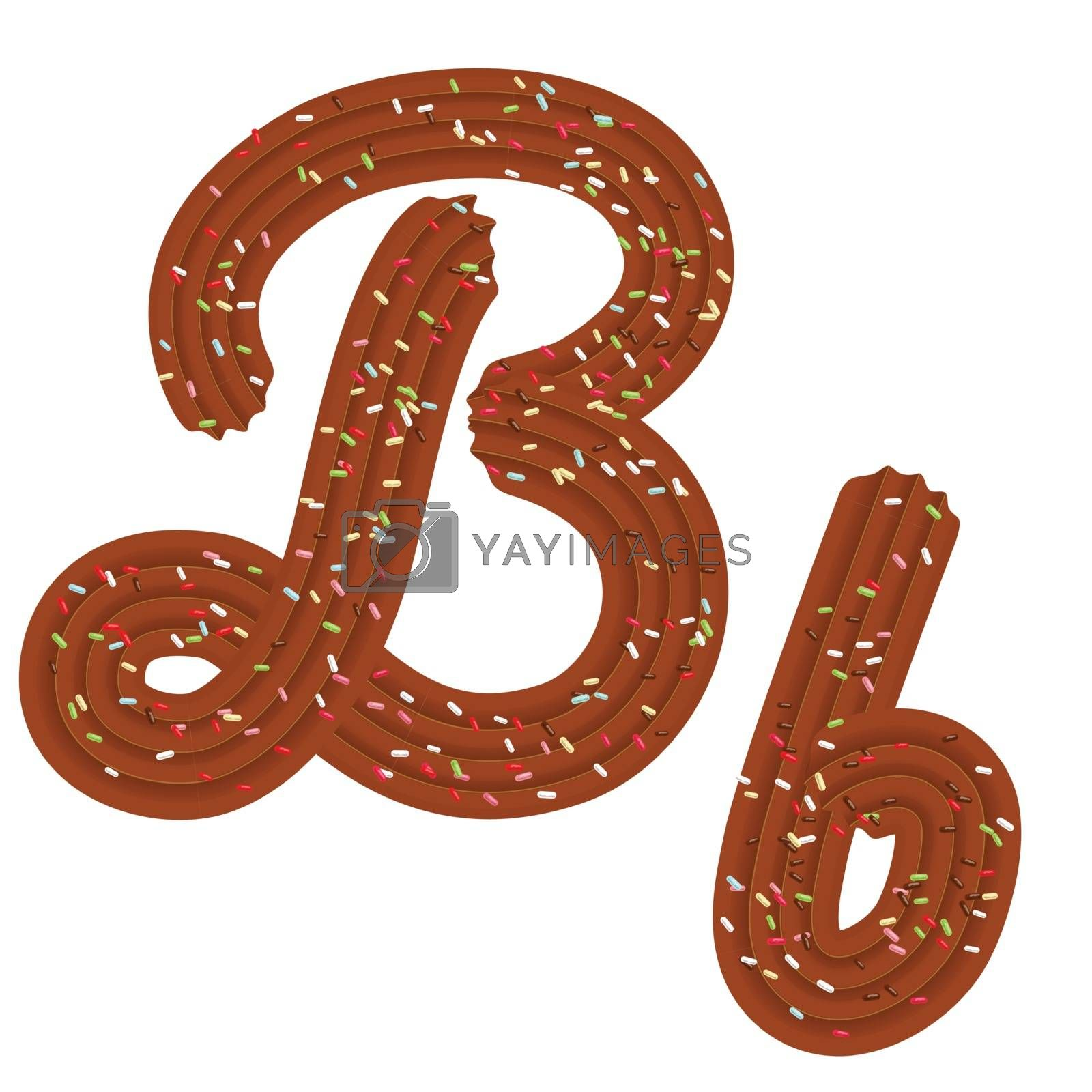 Tempting tipography. Font design. Icing letter. Sweet 3D letter B of the chocolate cream and candy. Vector