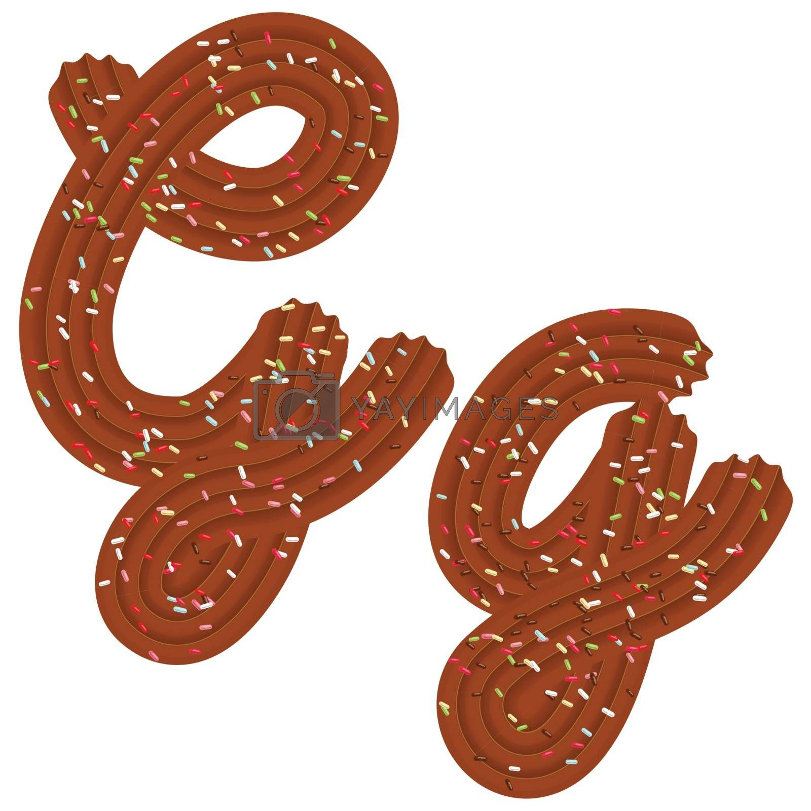 Tempting tipography. Font design. Icing letter. Sweet 3D letter G of the chocolate cream and candy. Vector