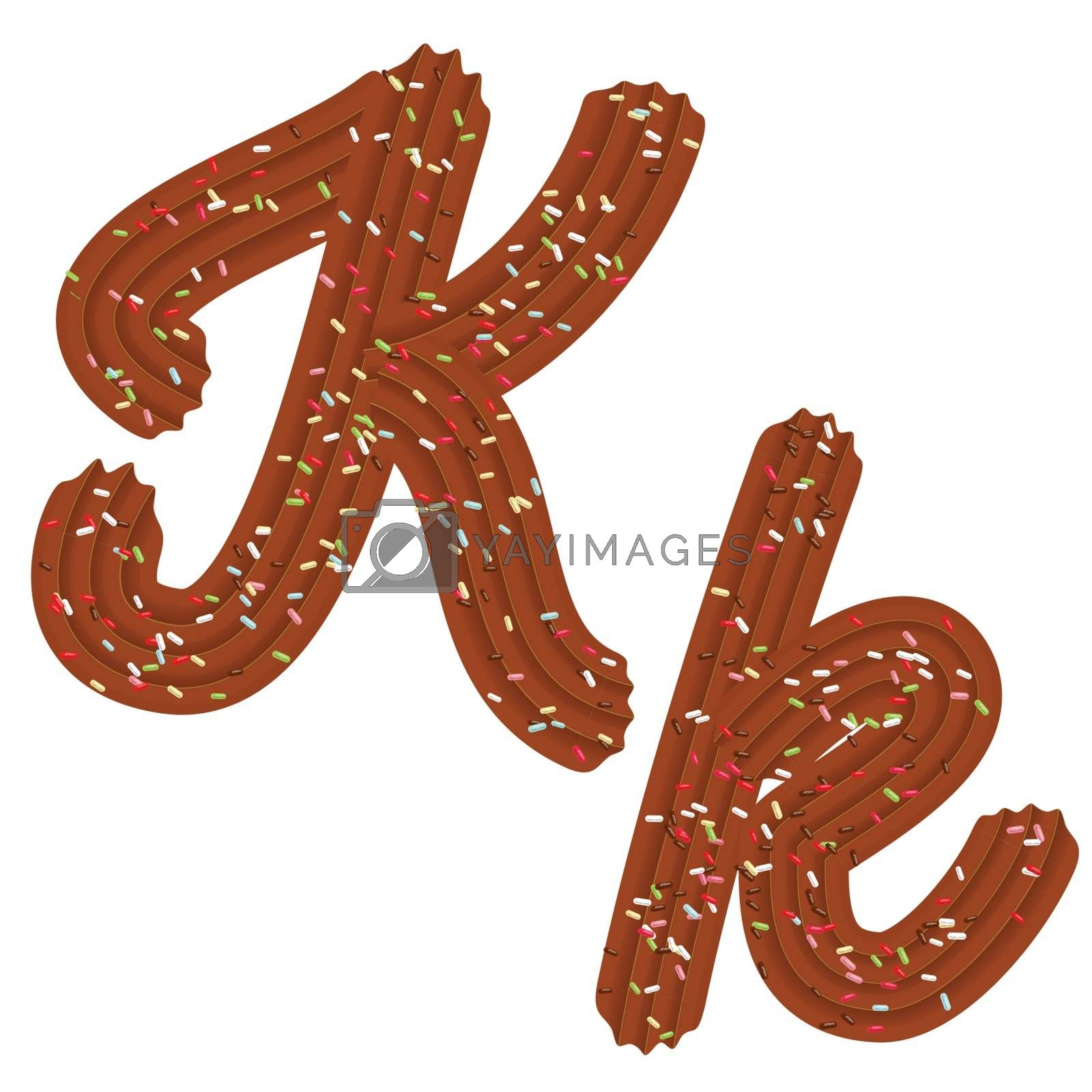 Tempting tipography. Font design. Icing letter. Sweet 3D letter K of the chocolate cream and candy. Vector