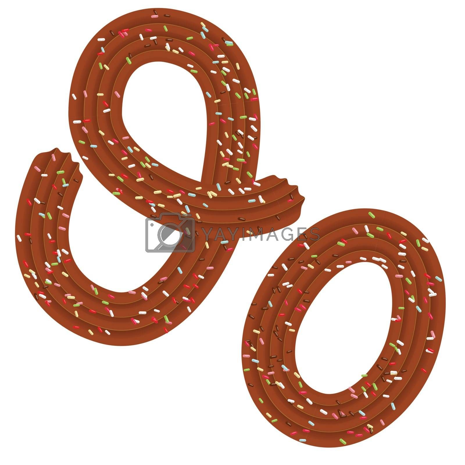 Tempting tipography. Font design. Icing letter. Sweet 3D letter O of the chocolate cream and candy. Vector