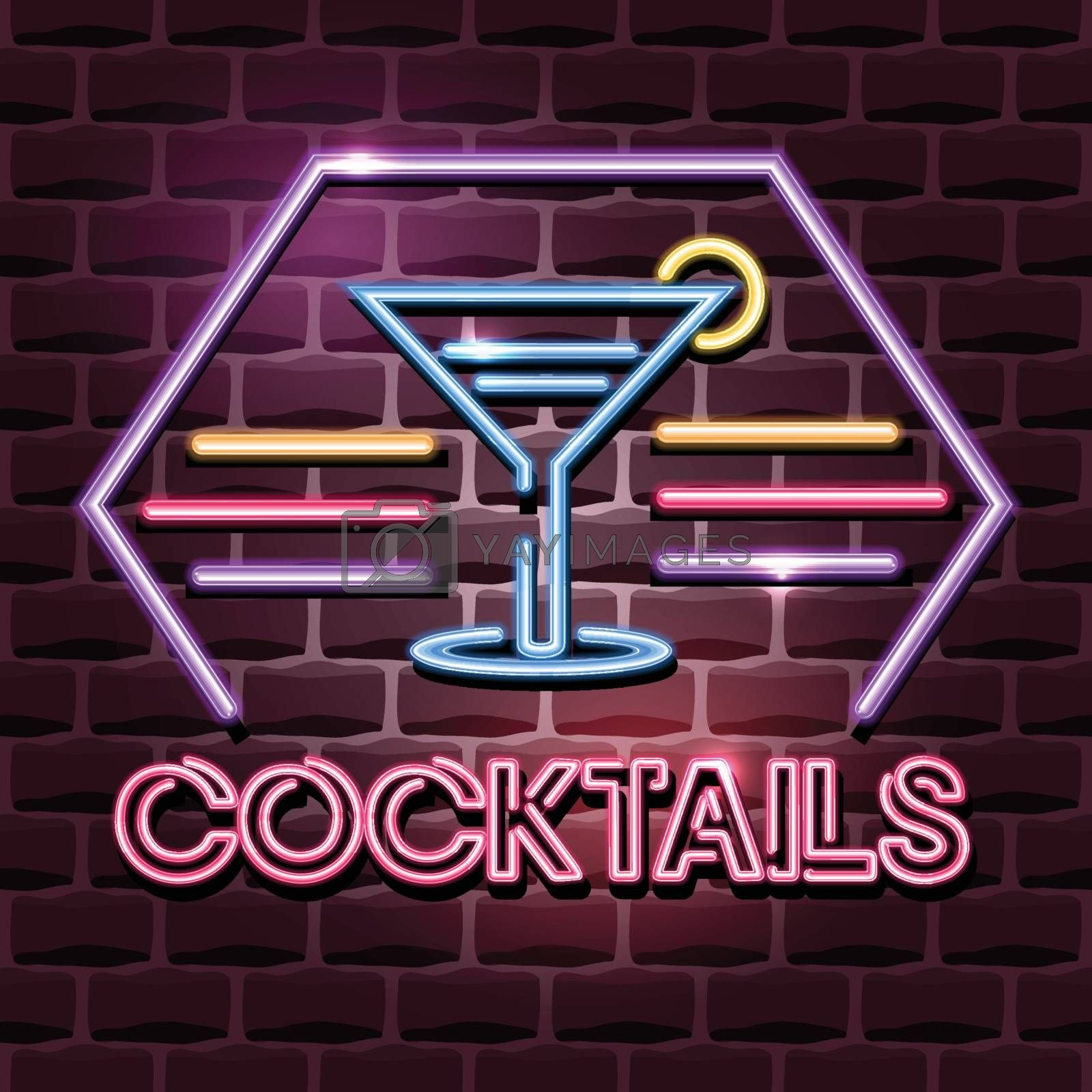cocktails neon advertising sign. Vector