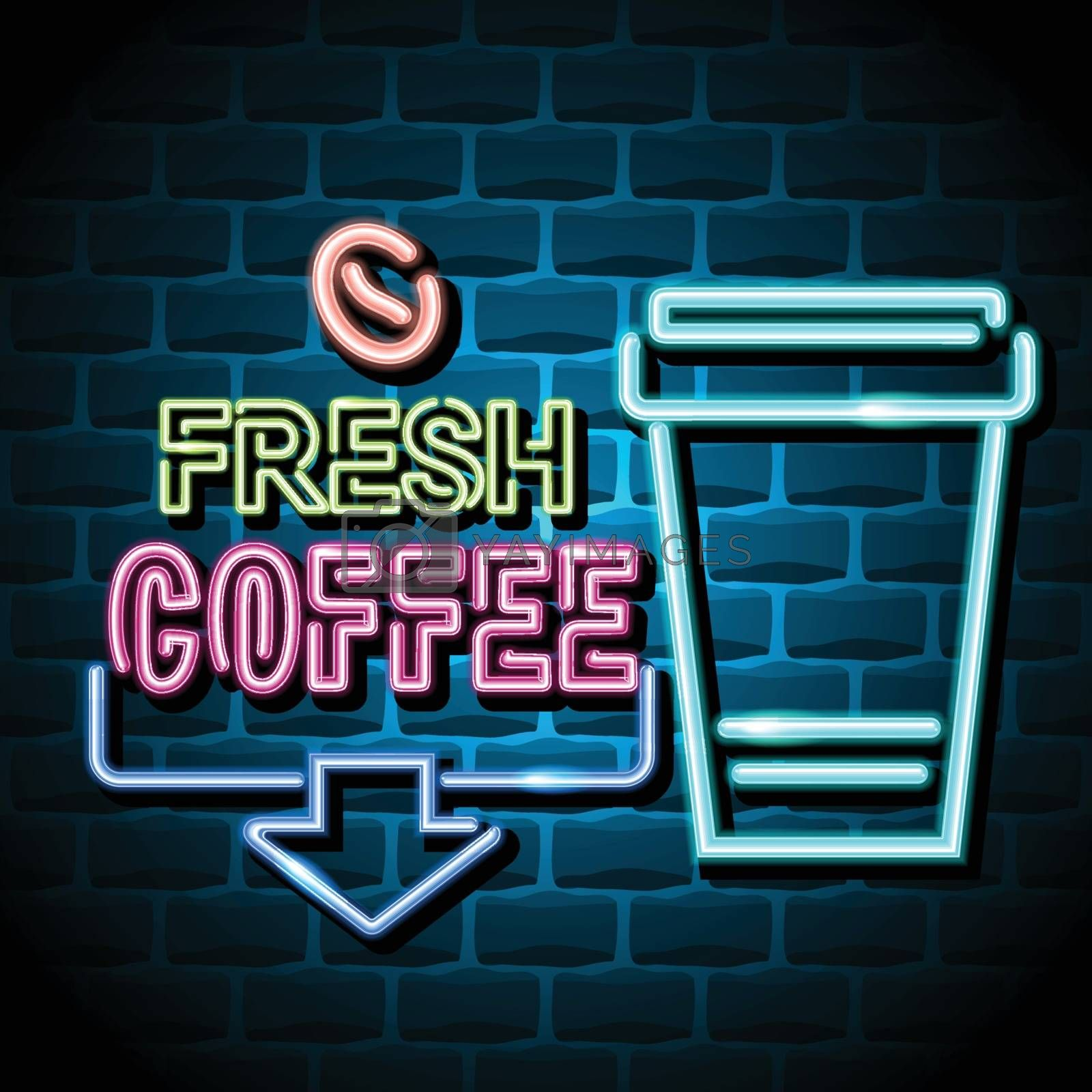 fresh coffee advertising sign. Vector