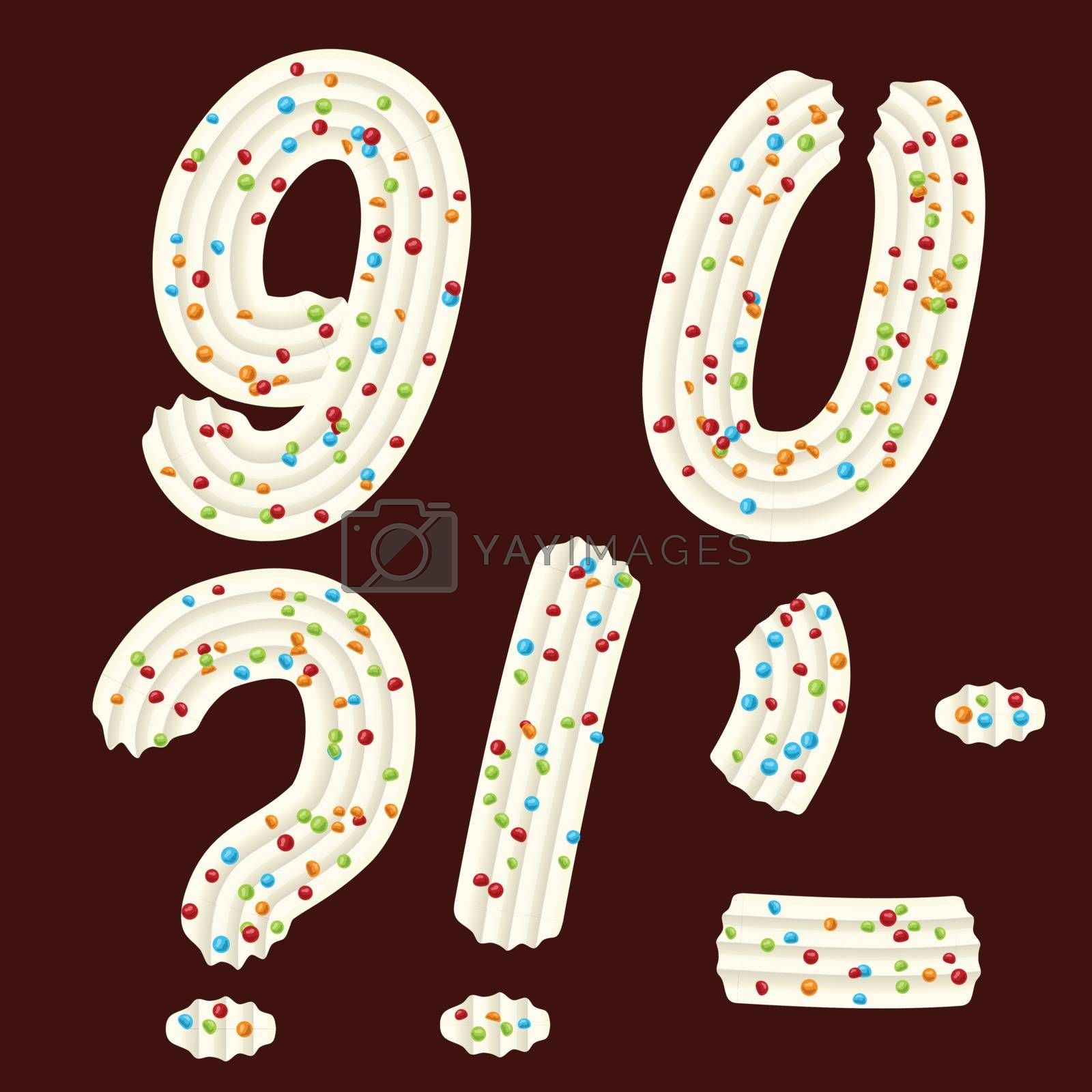 Tempting tipography. Font design. Icing letter. Sweet 3D numbers nine, zero and punctuation marks of the whipped cream and candy. Vector