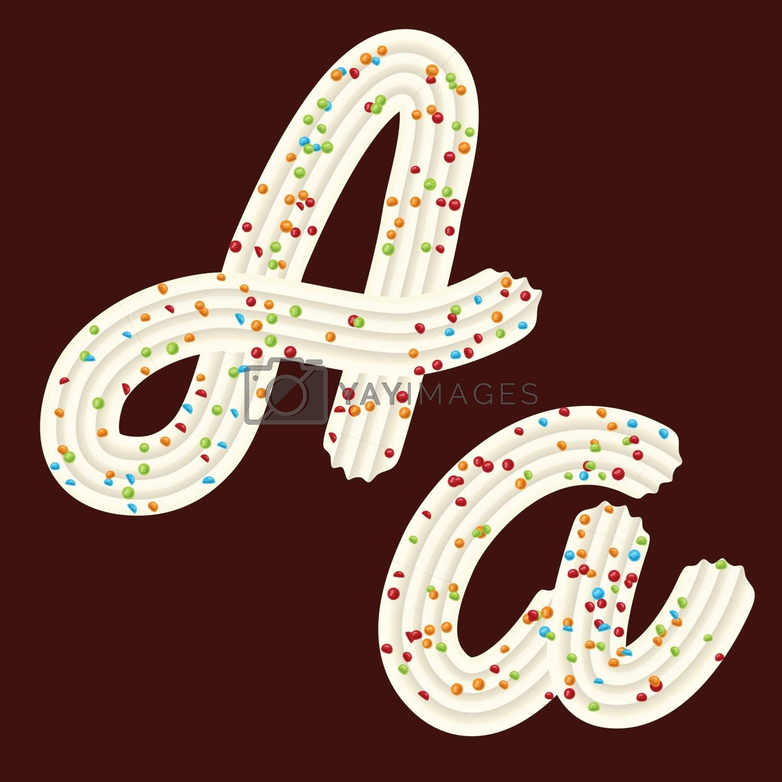 Tempting tipography. Font design. Icing letter. Sweet 3D letter A of the whipped cream and candy. Vector