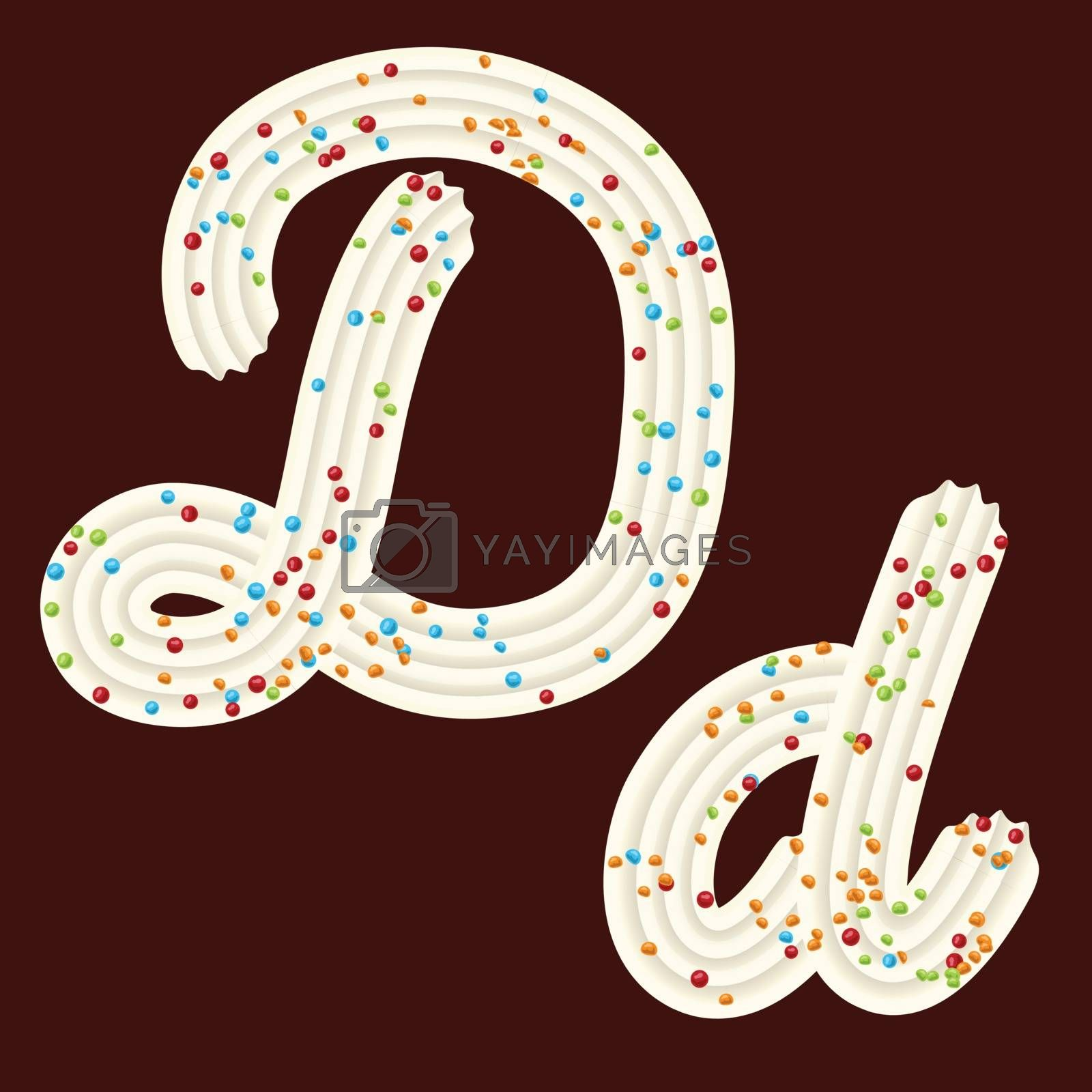 Tempting tipography. Font design. Icing letter. Sweet 3D letter D of the whipped cream and candy. Vector