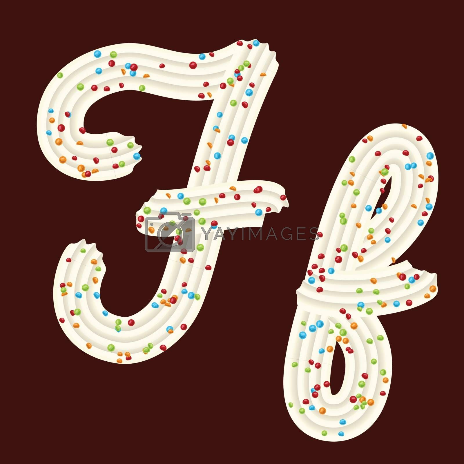 Tempting tipography. Font design. Icing letter. Sweet 3D letter F of the whipped cream and candy. Vector
