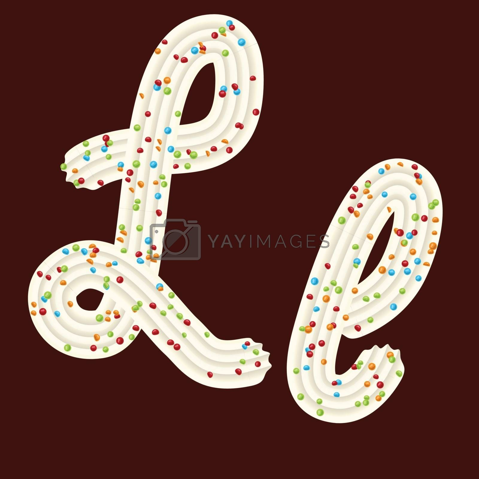 Tempting tipography. Font design. Icing letter. Sweet 3D letter L of the whipped cream and candy. Vector