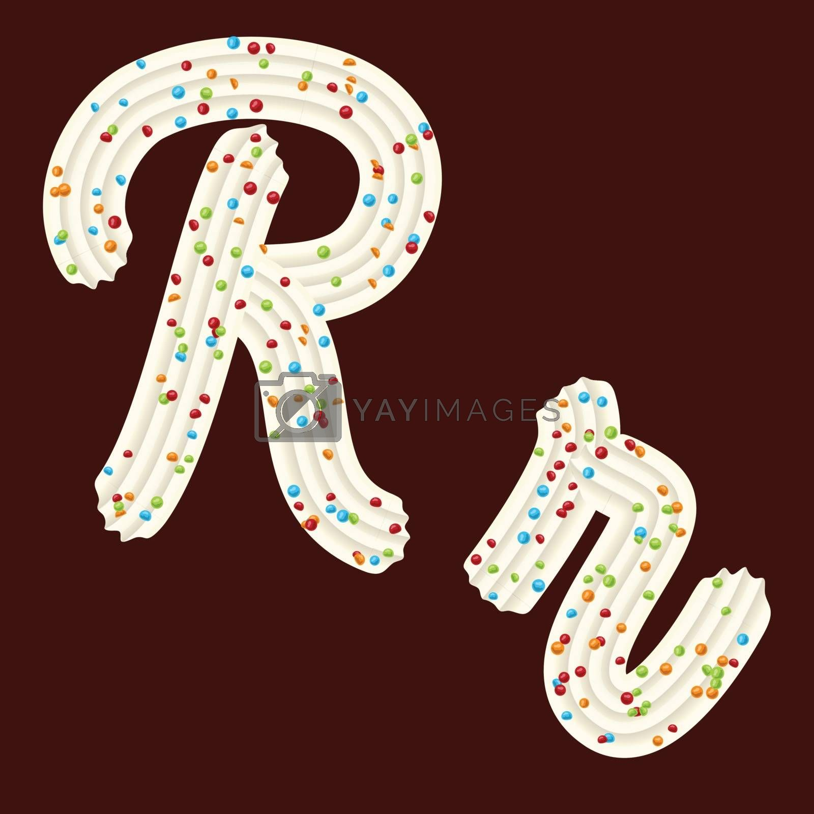 Tempting tipography. Font design. Icing letter. Sweet 3D letter R of the whipped cream and candy. Vector